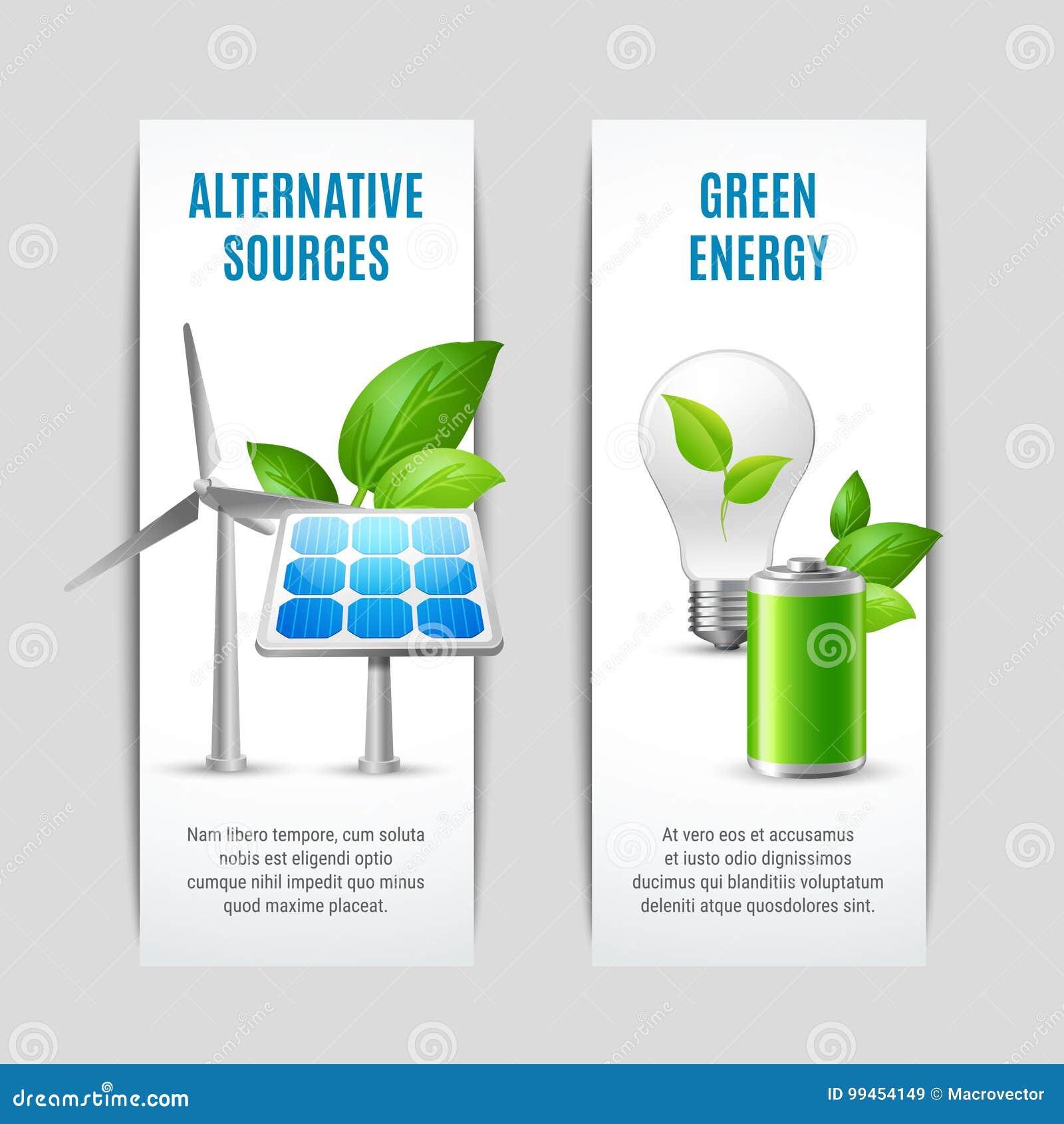 Alternative Quellen und grüne Energie-Fahnen