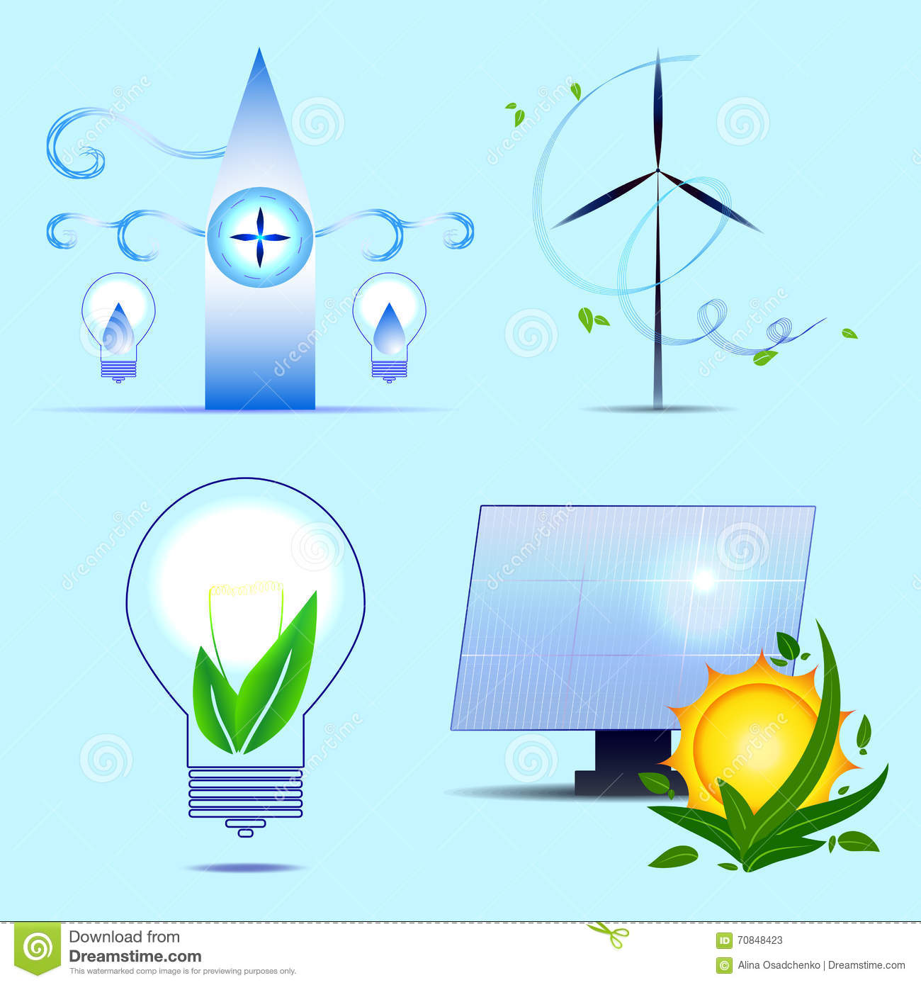 Alternative sources of energy. Vector set. Solar power, wind ...