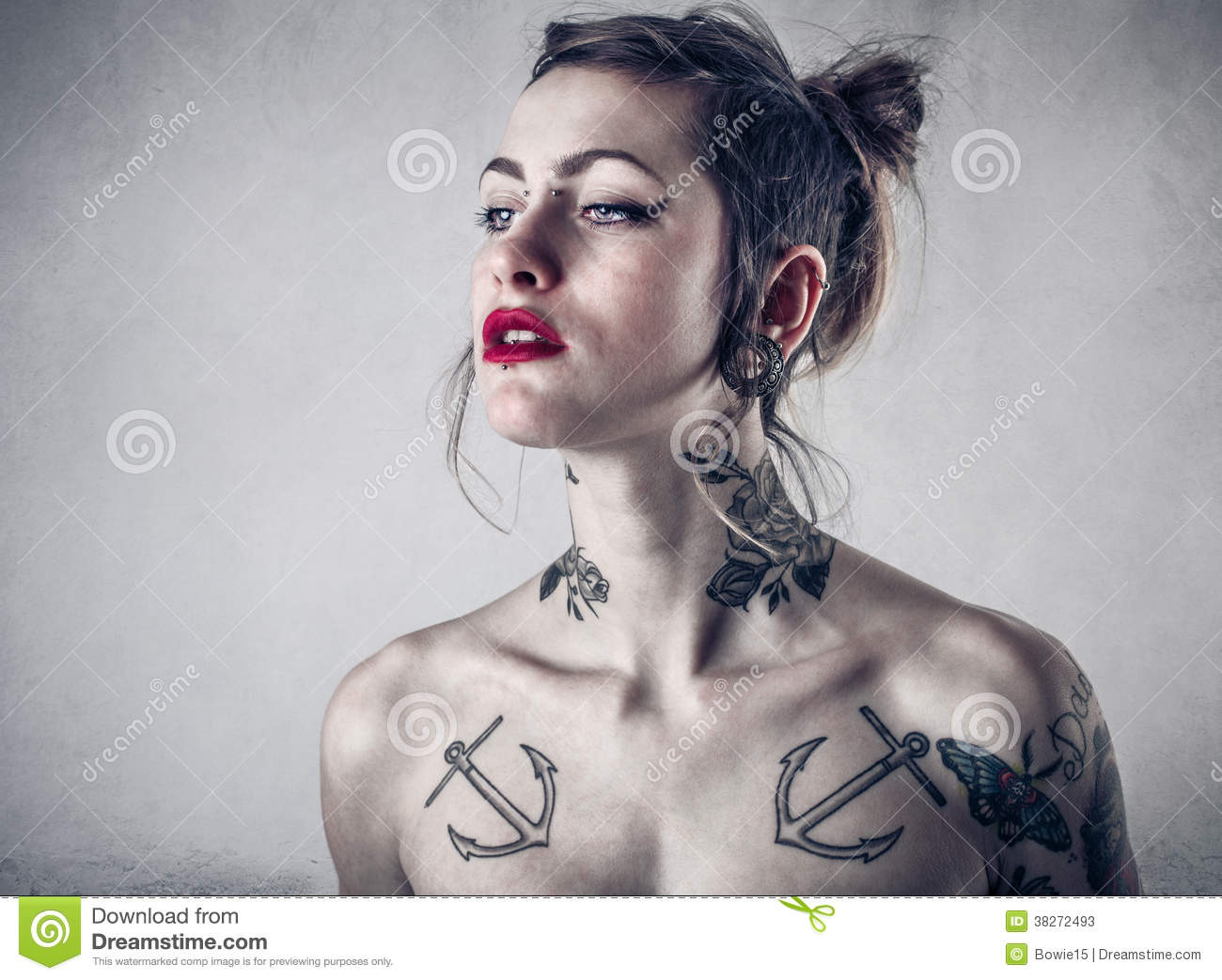 Alternative woman with lots of tattoos stock image image for Woman with tattoos