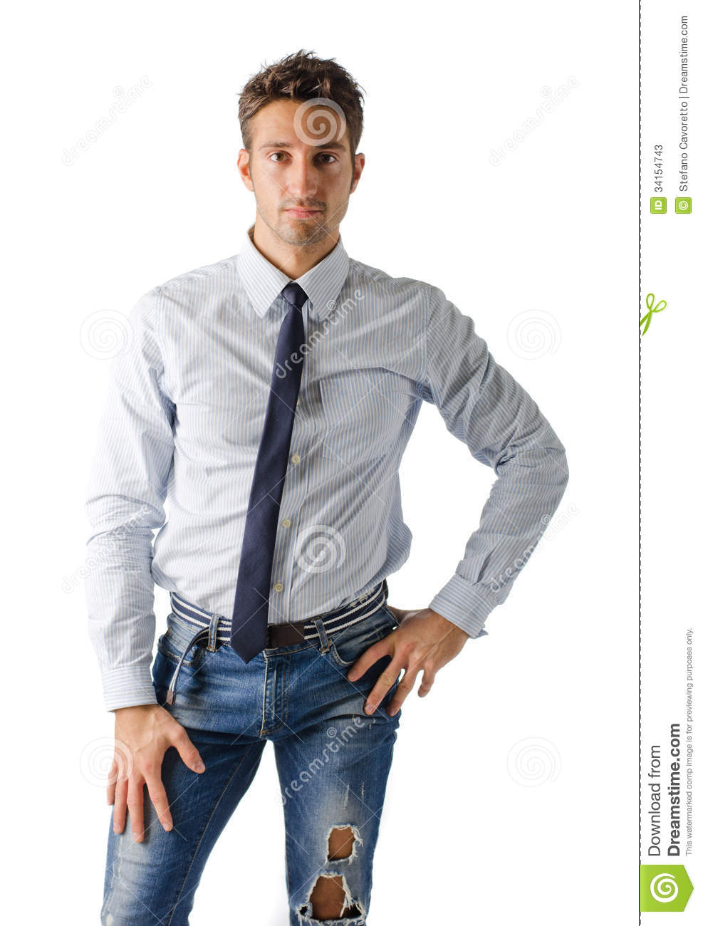 Alternative Young Business Man Wearing Shirt Tie And Ripped Jeans Stock Photos - Image 34154743