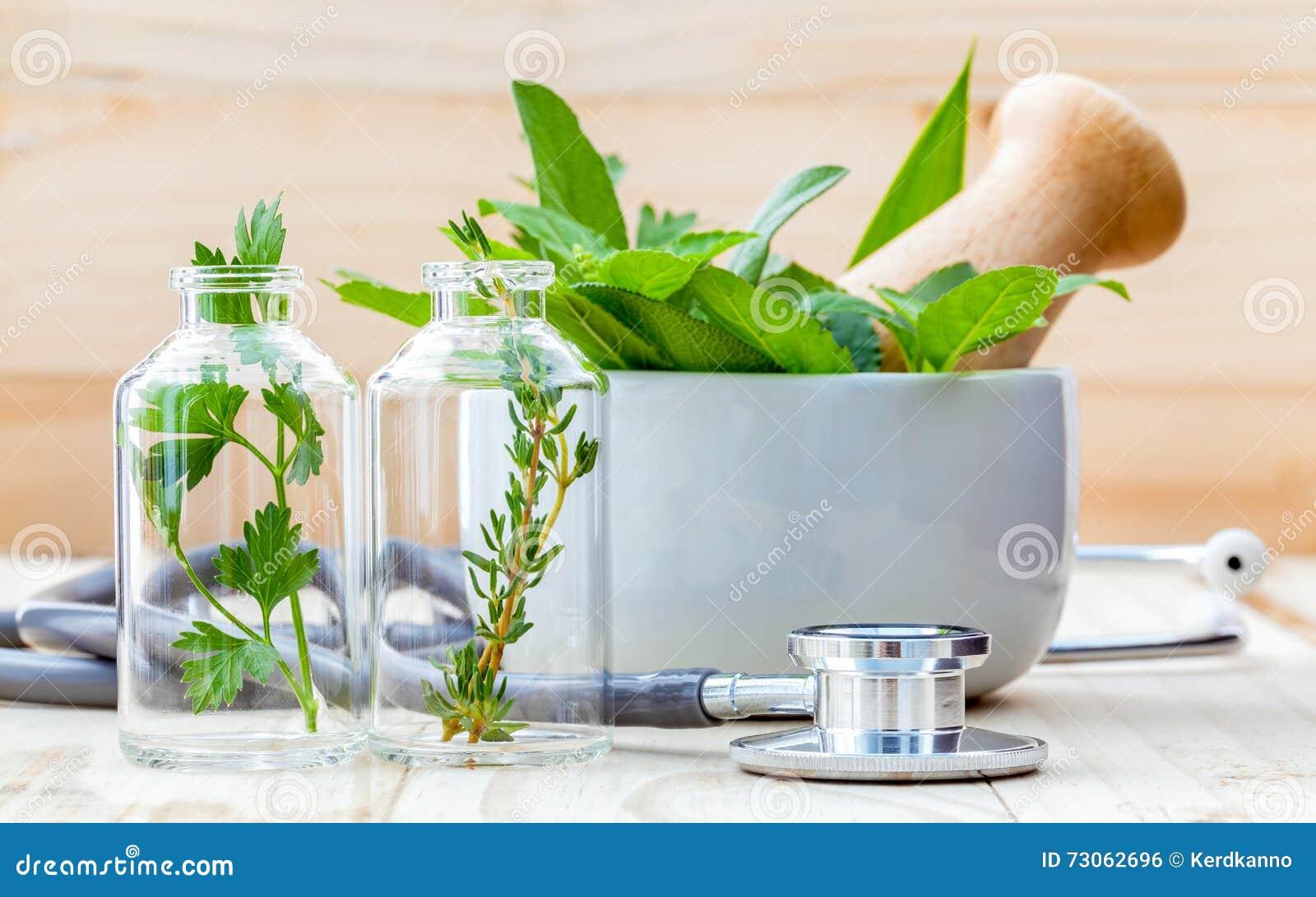 Alternatywny opieki zdrowotnej pojęcie Świeża ziele zieleni mennica, rosemar