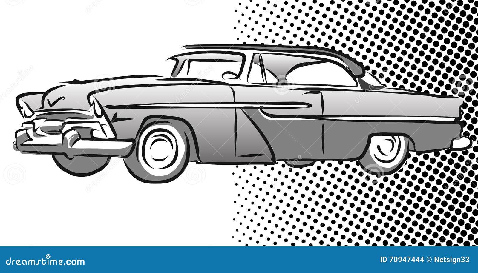 Altes Amerikanisches Auto-Seitenansicht, Hand Gezeichnete Skizze ...