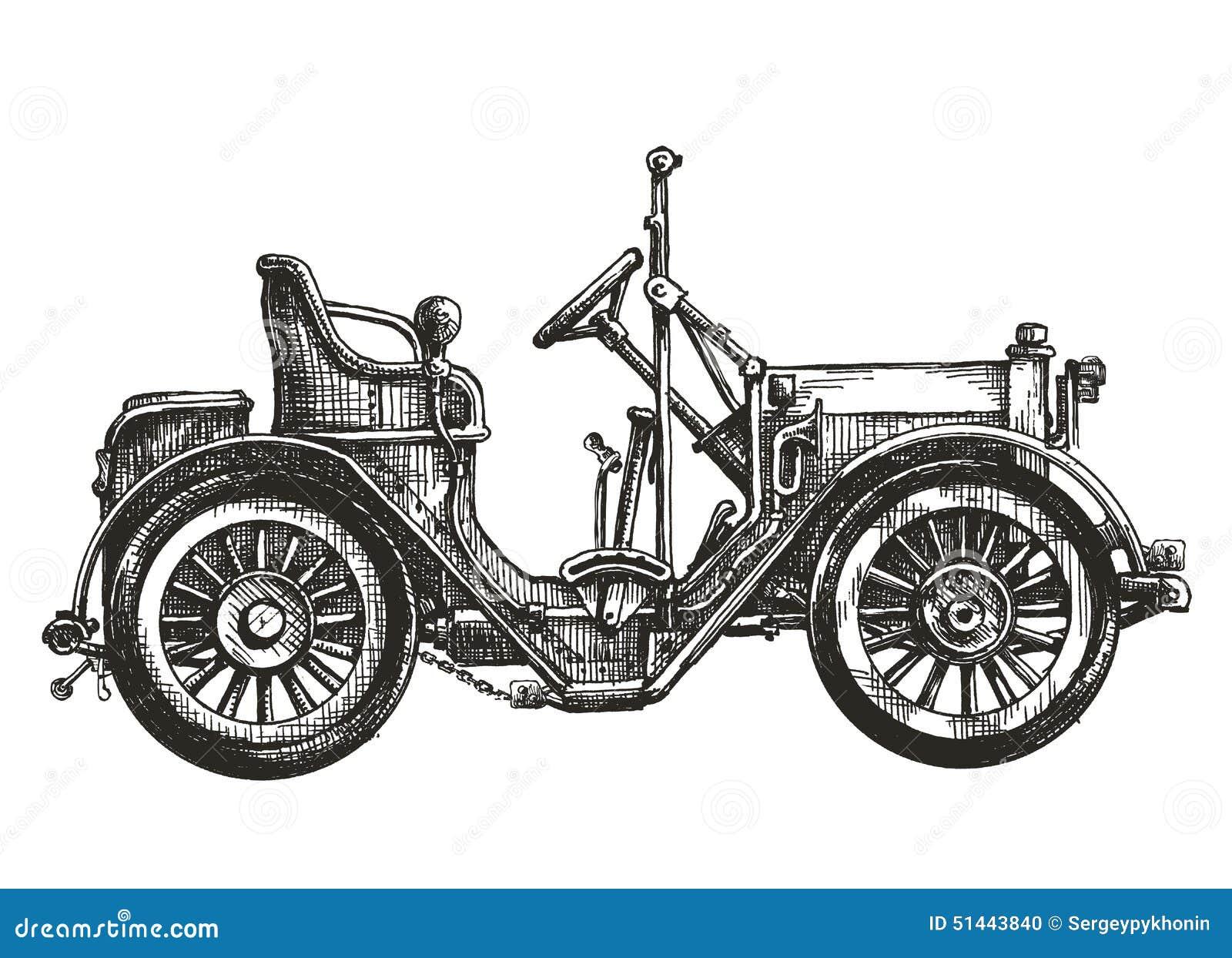Altes Auto Auf Einem Weißen Hintergrund Skizze Stock Abbildung ...