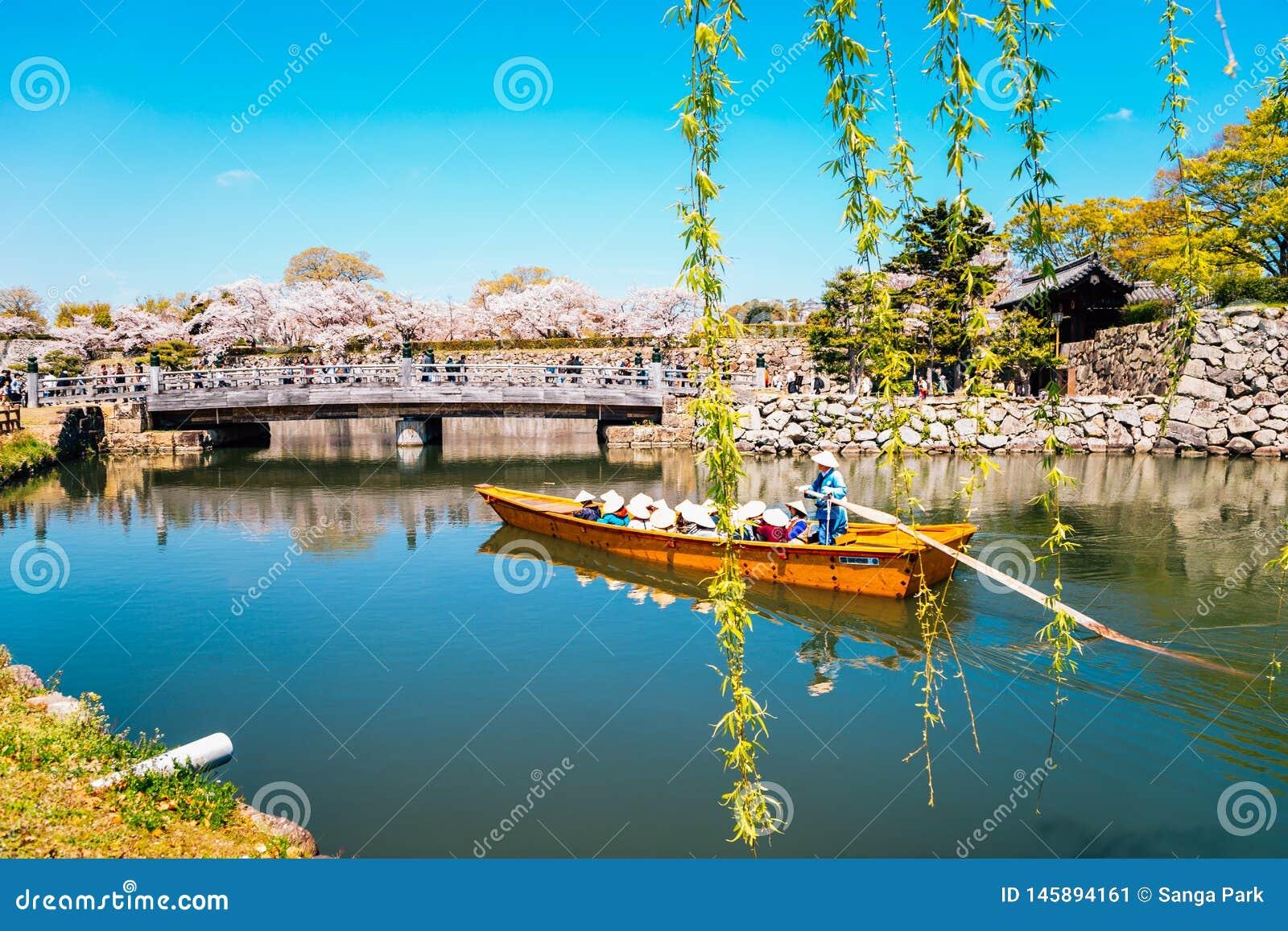 Altes Boot auf dem Kanal mit Frühlingskirschblüten an Himeji-Schloss in Hyogo, Japan