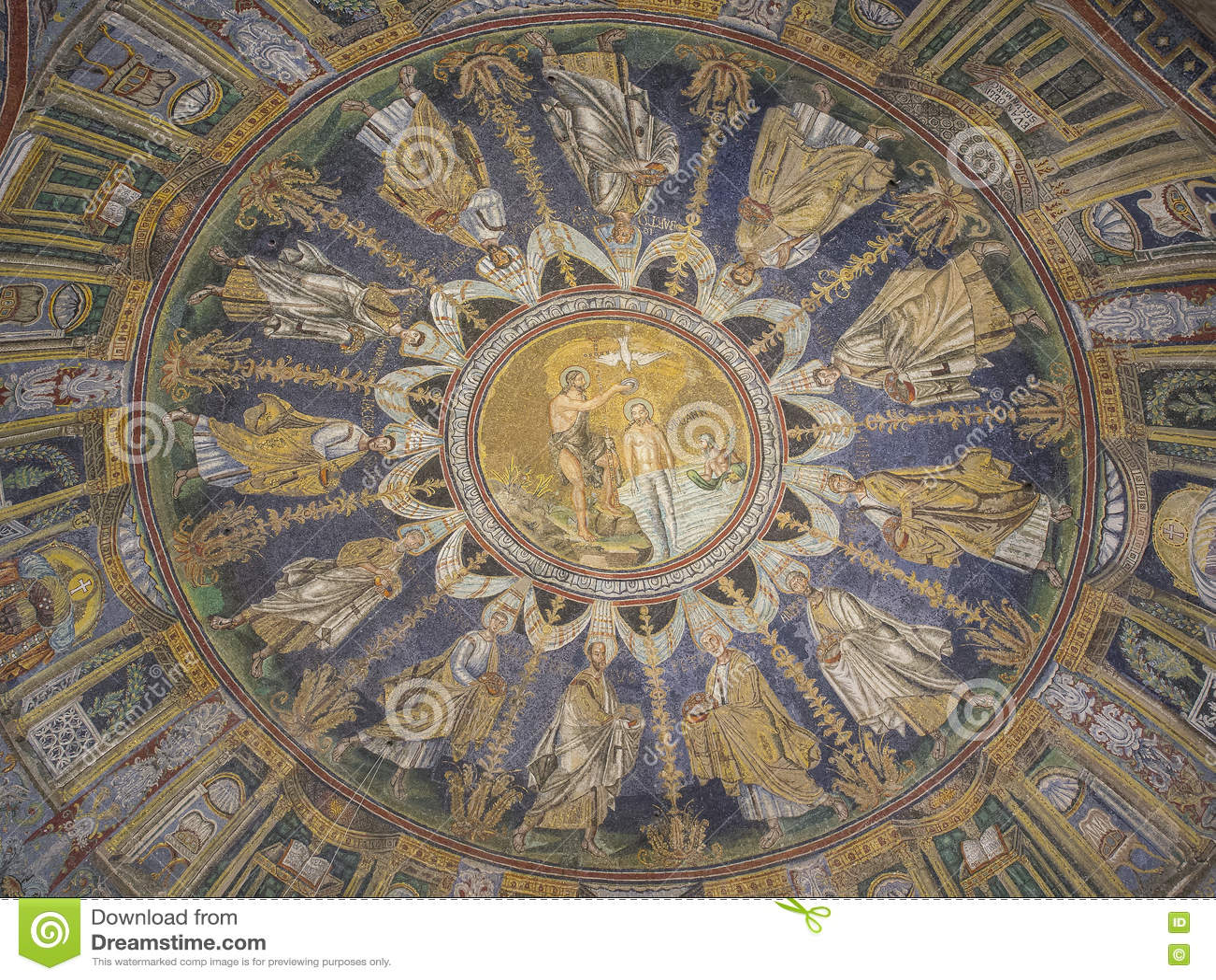 Altes Byzantinisches Mosaik Der Taufe Von Jesus Stockbild