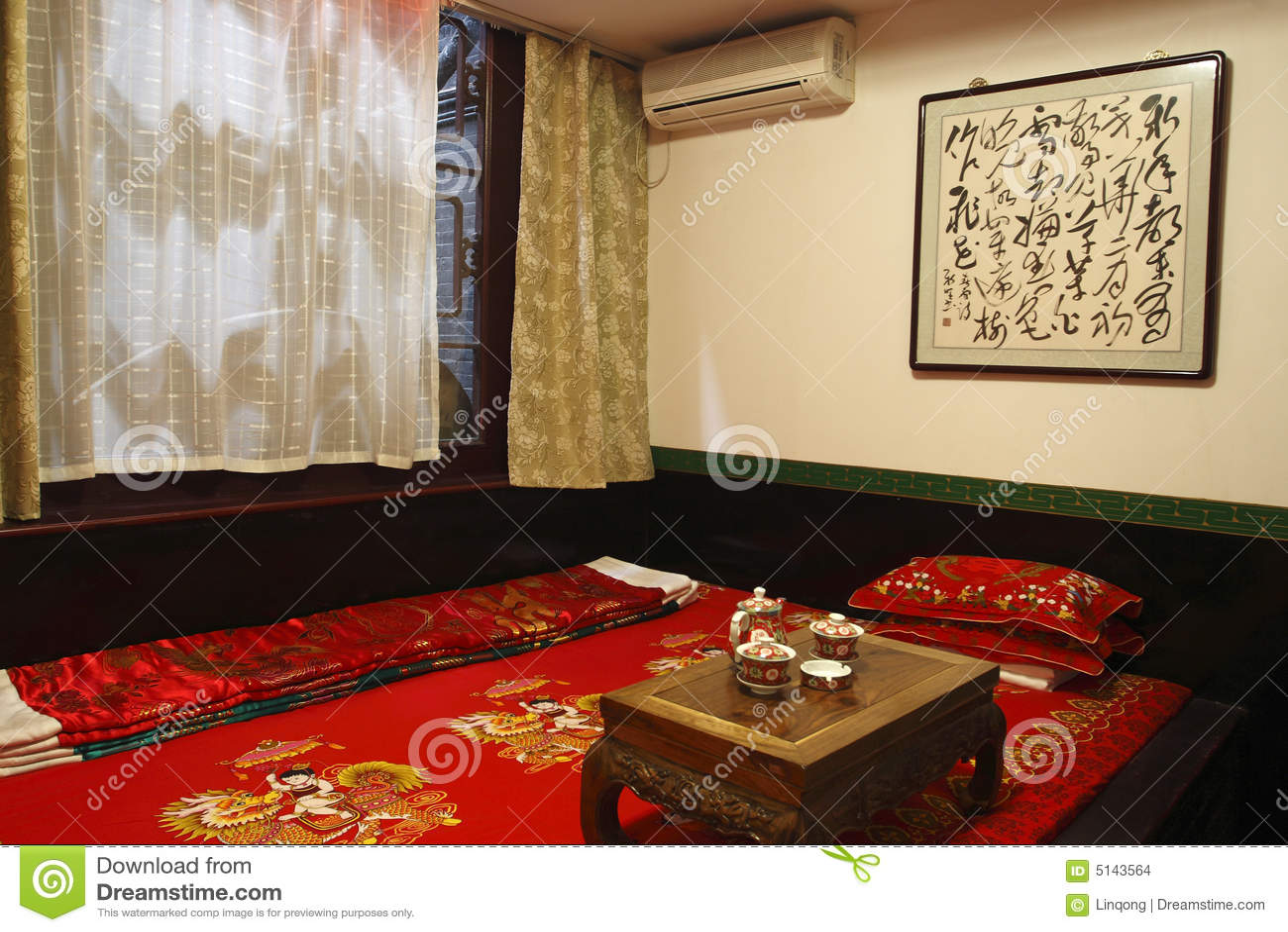 Altes Chinesisch-Art Schlafzimmer Stockfoto - Bild von holz, asien ...