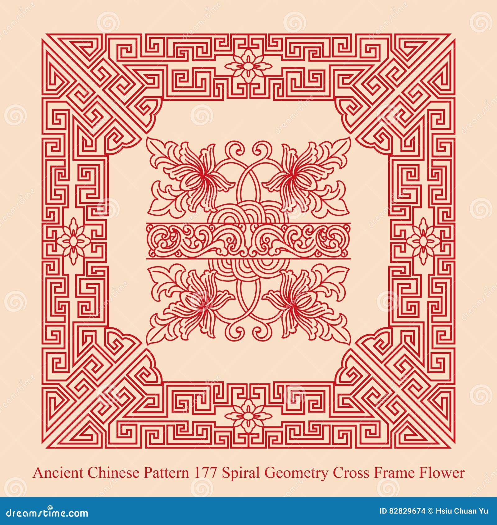 Altes Chinesisches Muster Der Gewundenen Geometrie-Kreuz-Rahmen ...