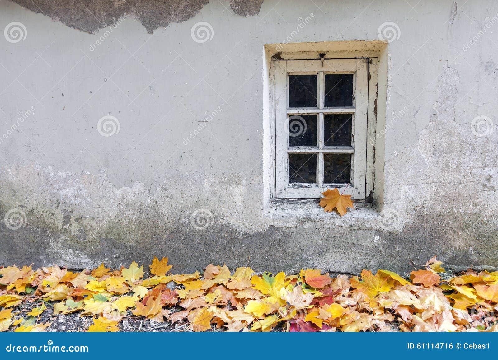 Altes Fenster am Herbst