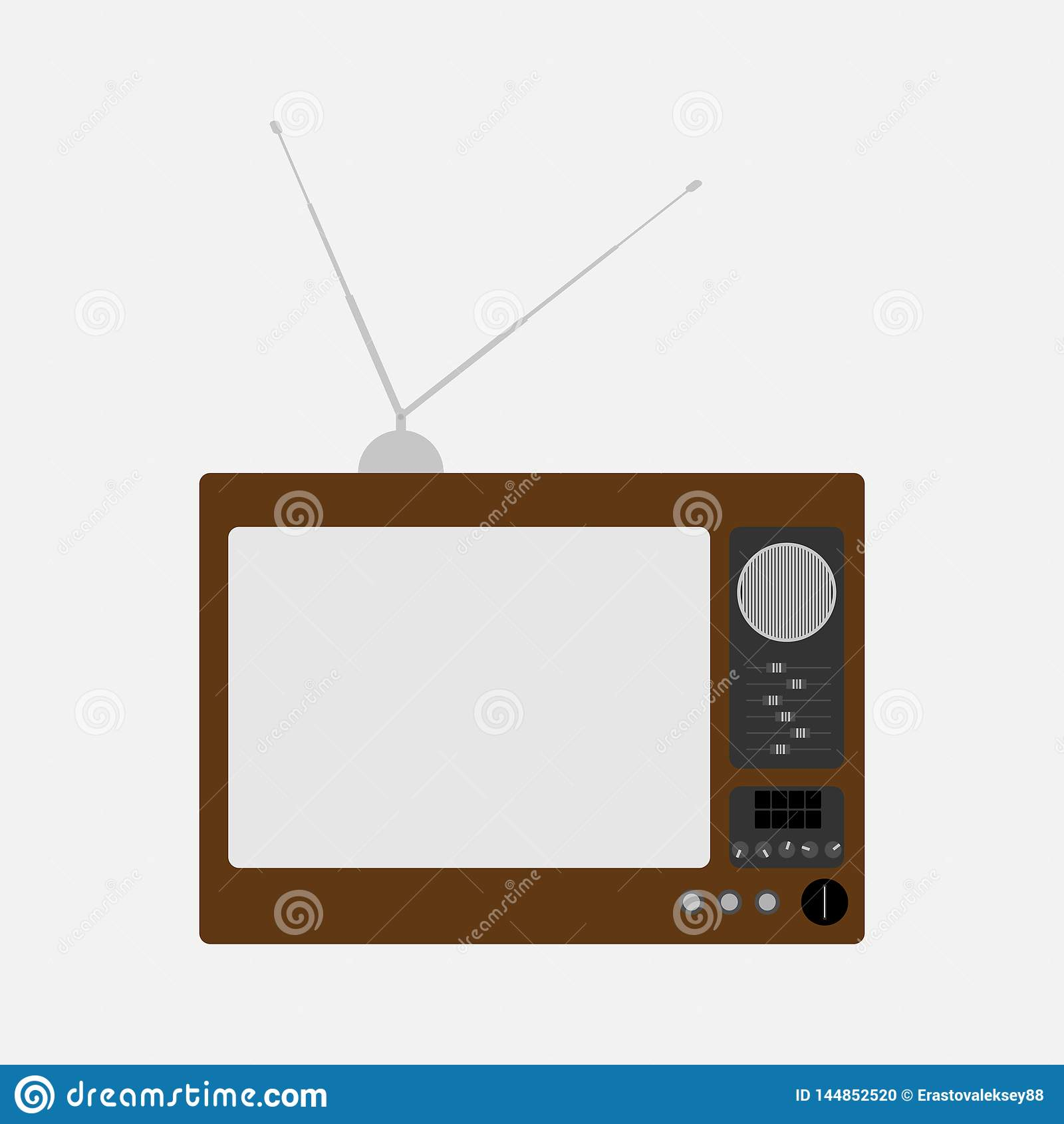 Altes Fernsehen Retro- Fernsehapparat Auch im corel abgehobenen Betrag