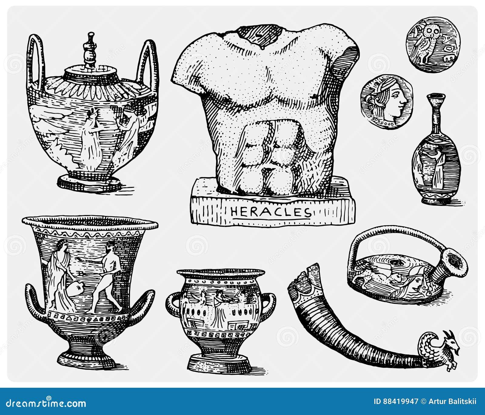 Altes Griechenland Antike Symbole Griechische Münzen Heracles