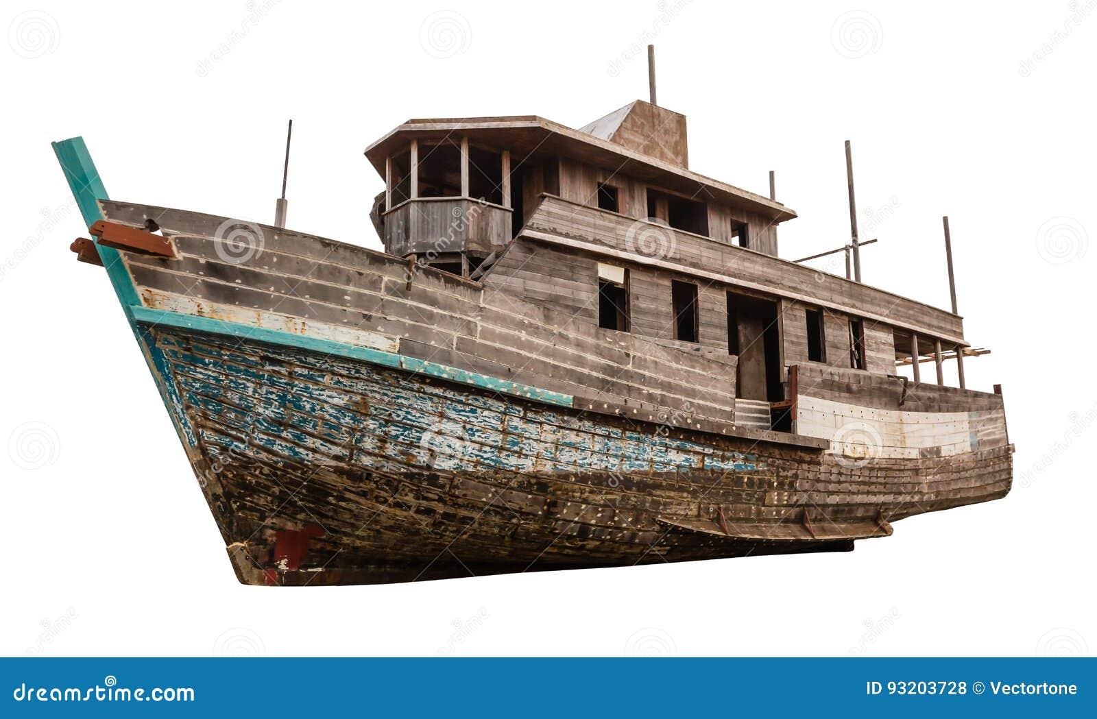 Altes hölzernes Fischerboot lokalisiert auf weißem Hintergrund