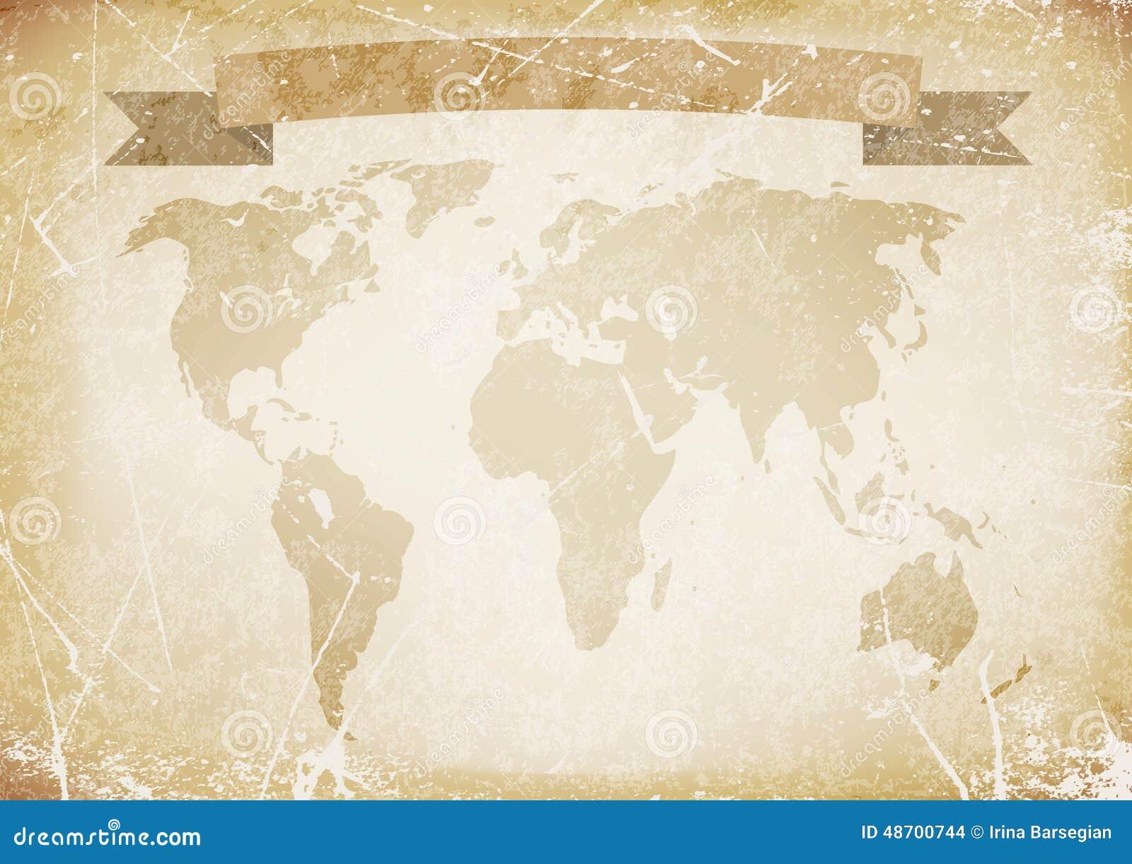 Altes Papier Des Hintergrundes Mit Wortkarte Fahne Abbildung Vektor