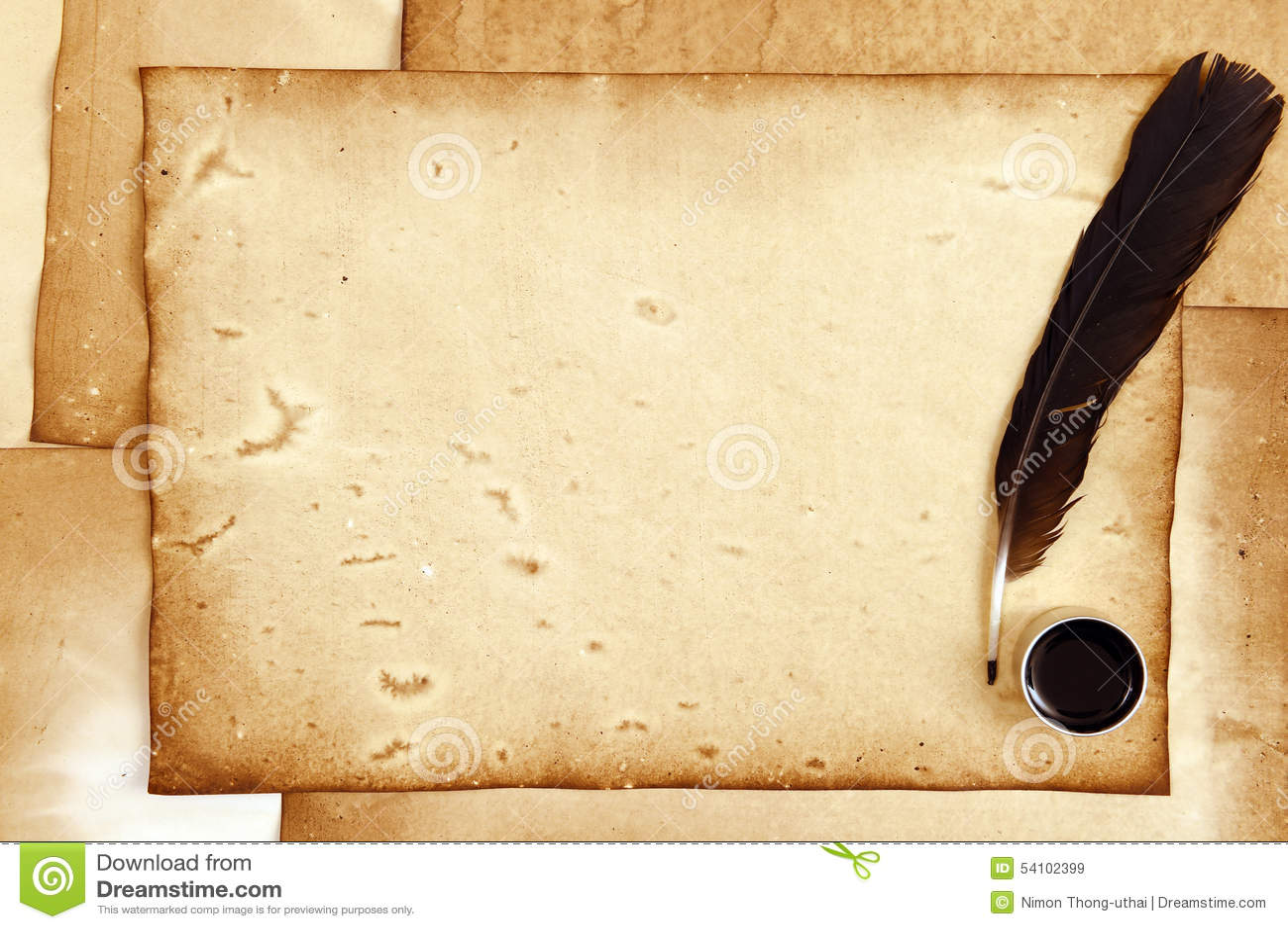altes papier mit feder und tinte stockbild bild von papier historisch 54102399. Black Bedroom Furniture Sets. Home Design Ideas