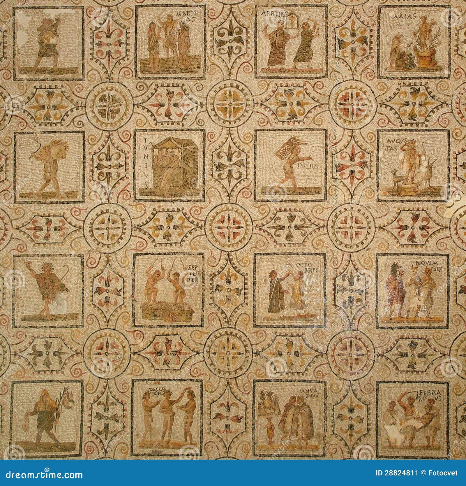 altes römisches mosaik kalender stockbild  bild 28824811