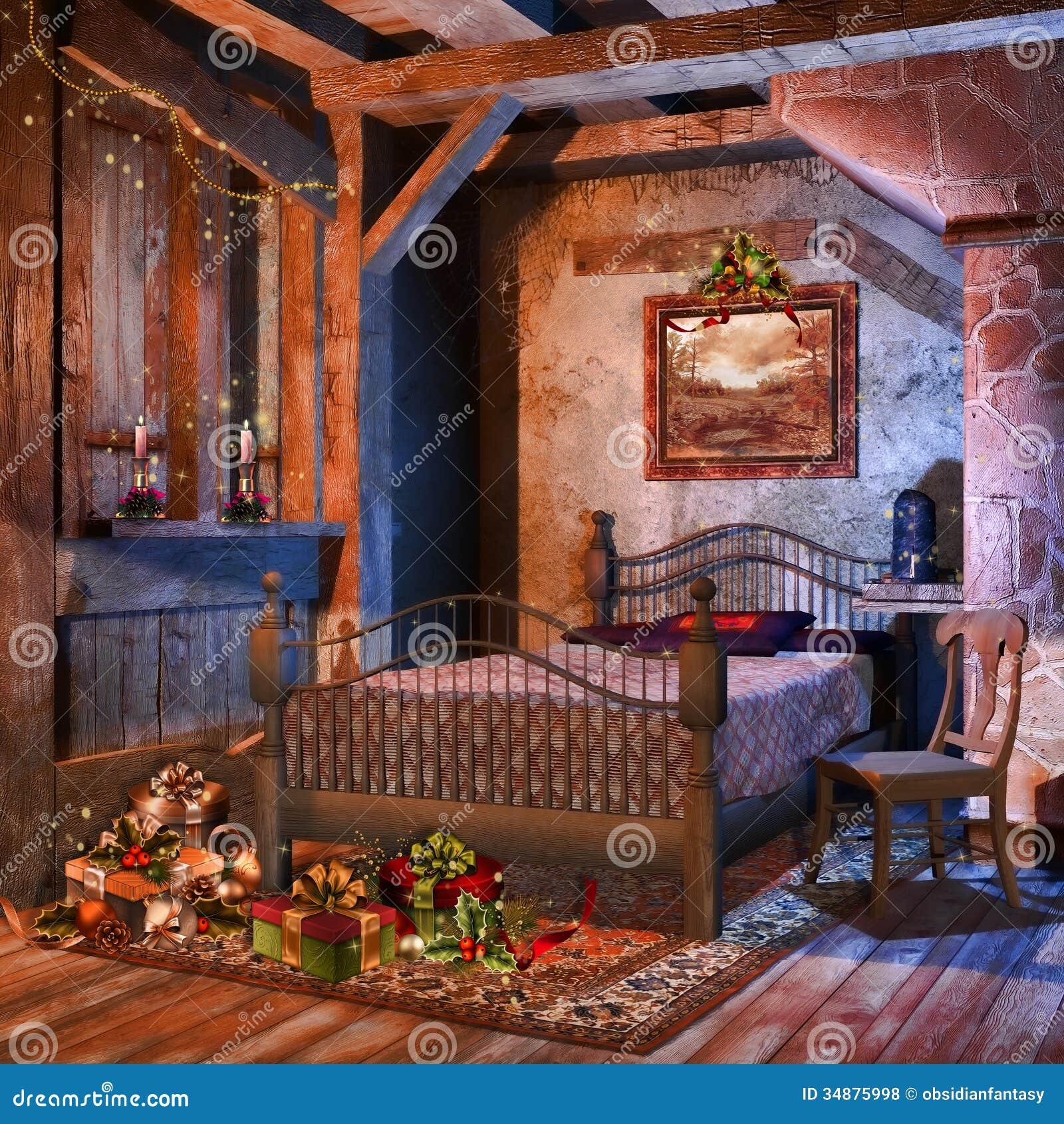 altes schlafzimmer mit geschenken lizenzfreie stockfotos - bild, Schlafzimmer entwurf