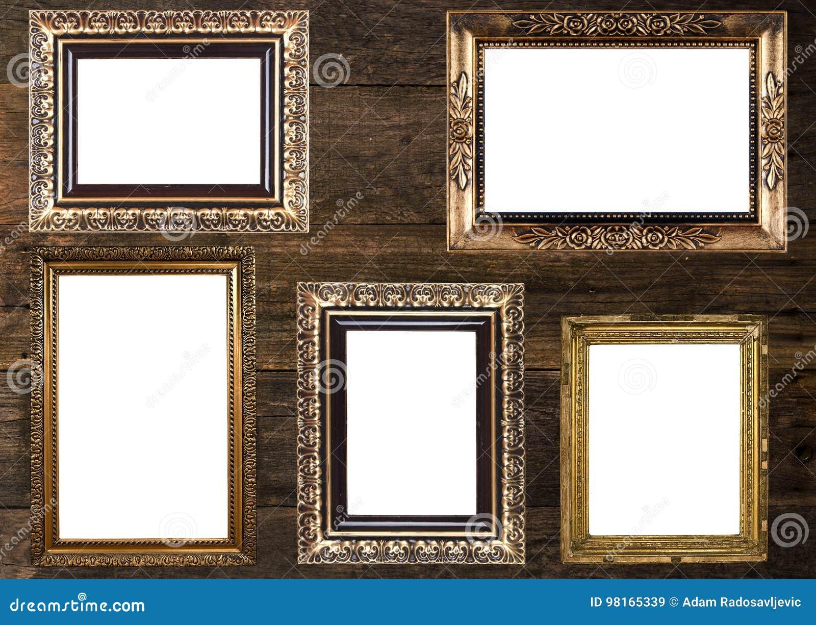 Altgold-Bilderrahmen Auf Hölzerner Wand Stockbild - Bild von möbel ...