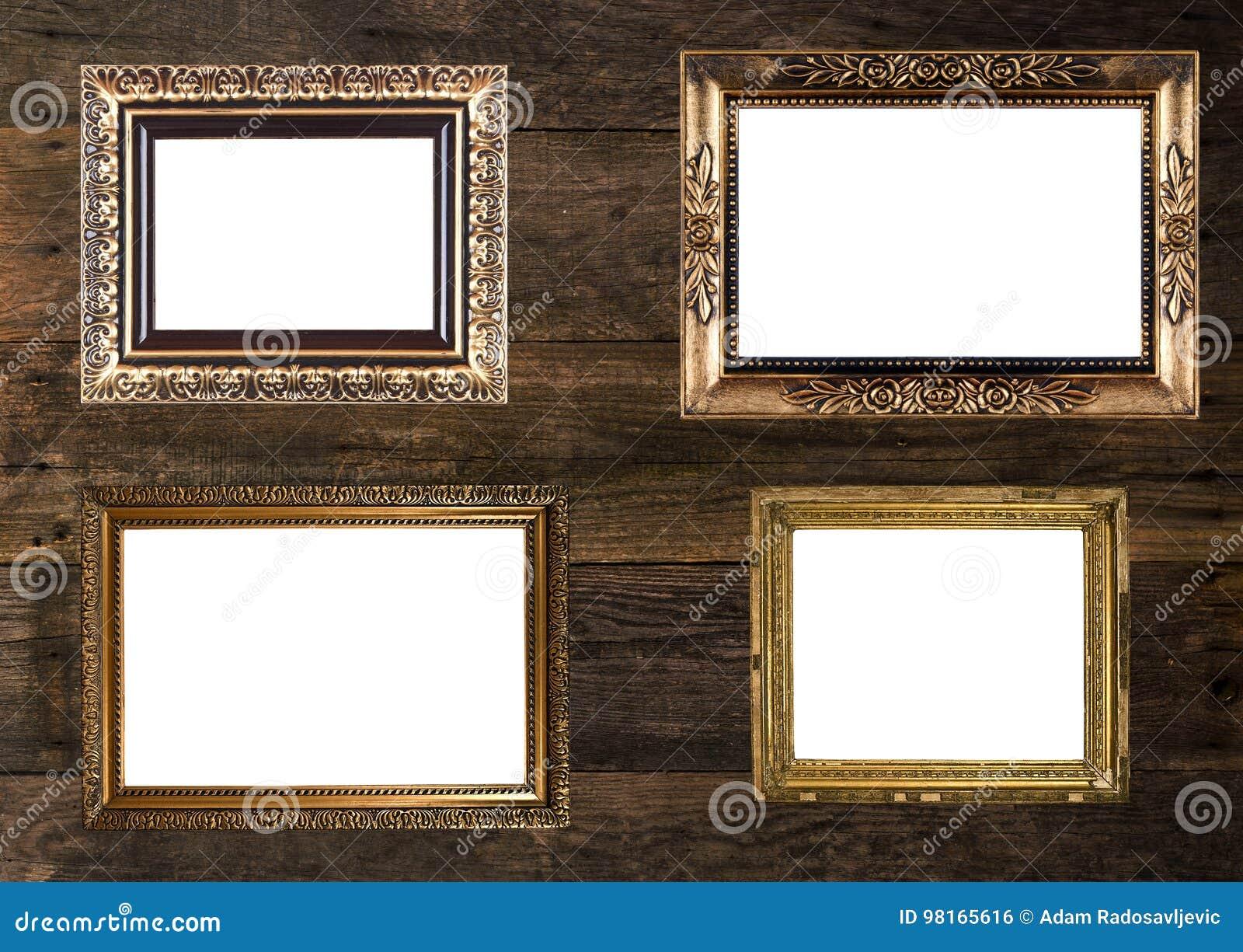 Altgold-Bilderrahmen Auf Hölzerner Wand Stockfoto - Bild von wand ...