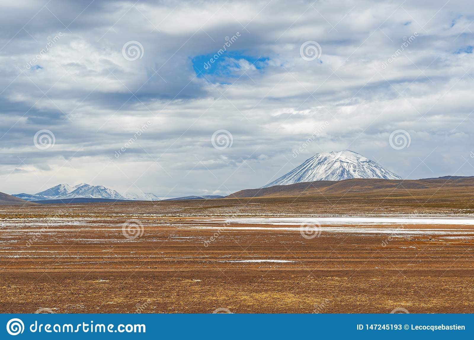 Altiplanolandschap en Misti Volcano, Peru