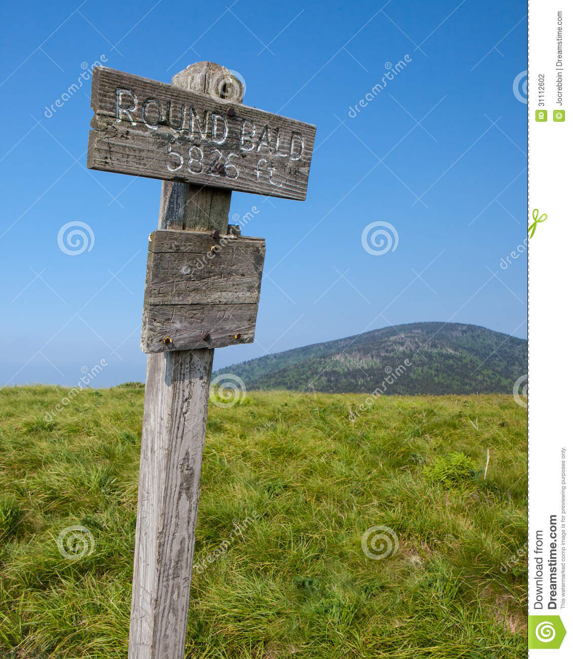 Roan Mountain State Park: Altitude Marker At Round Bald In Roan Mountain State Park