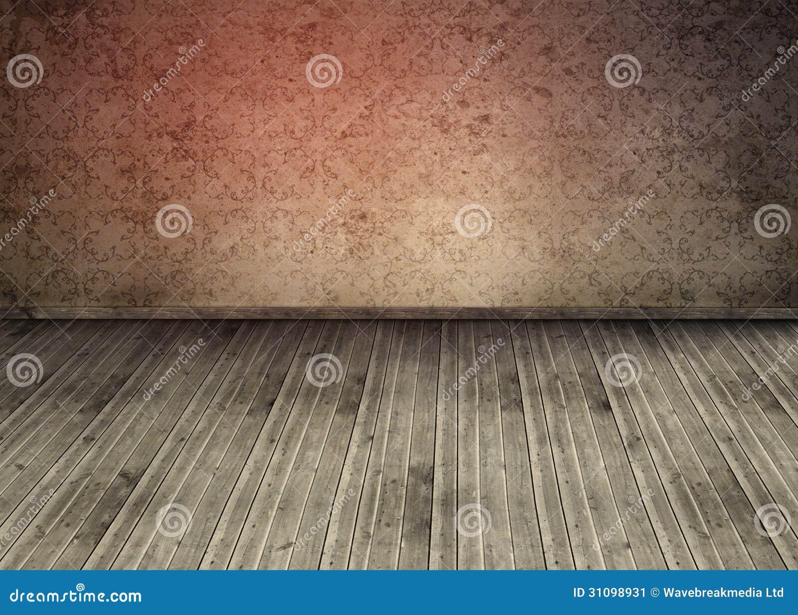 Fußboden Aus Packpapier ~ Altmodische tapete in einem leeren raum stockbild bild von