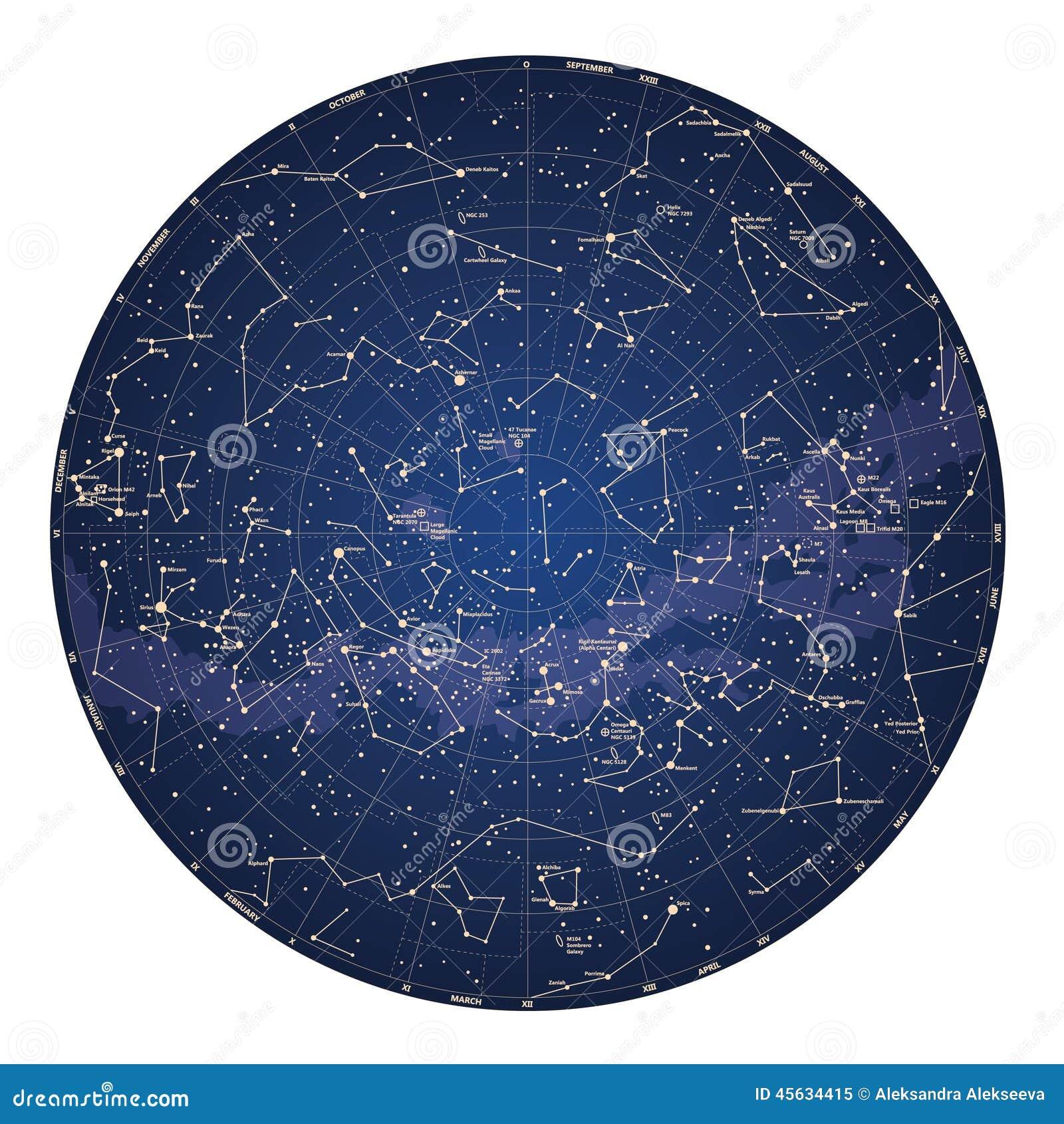 Alto mapa de cielo detallado del hemisferio meridional con nombres de estrellas