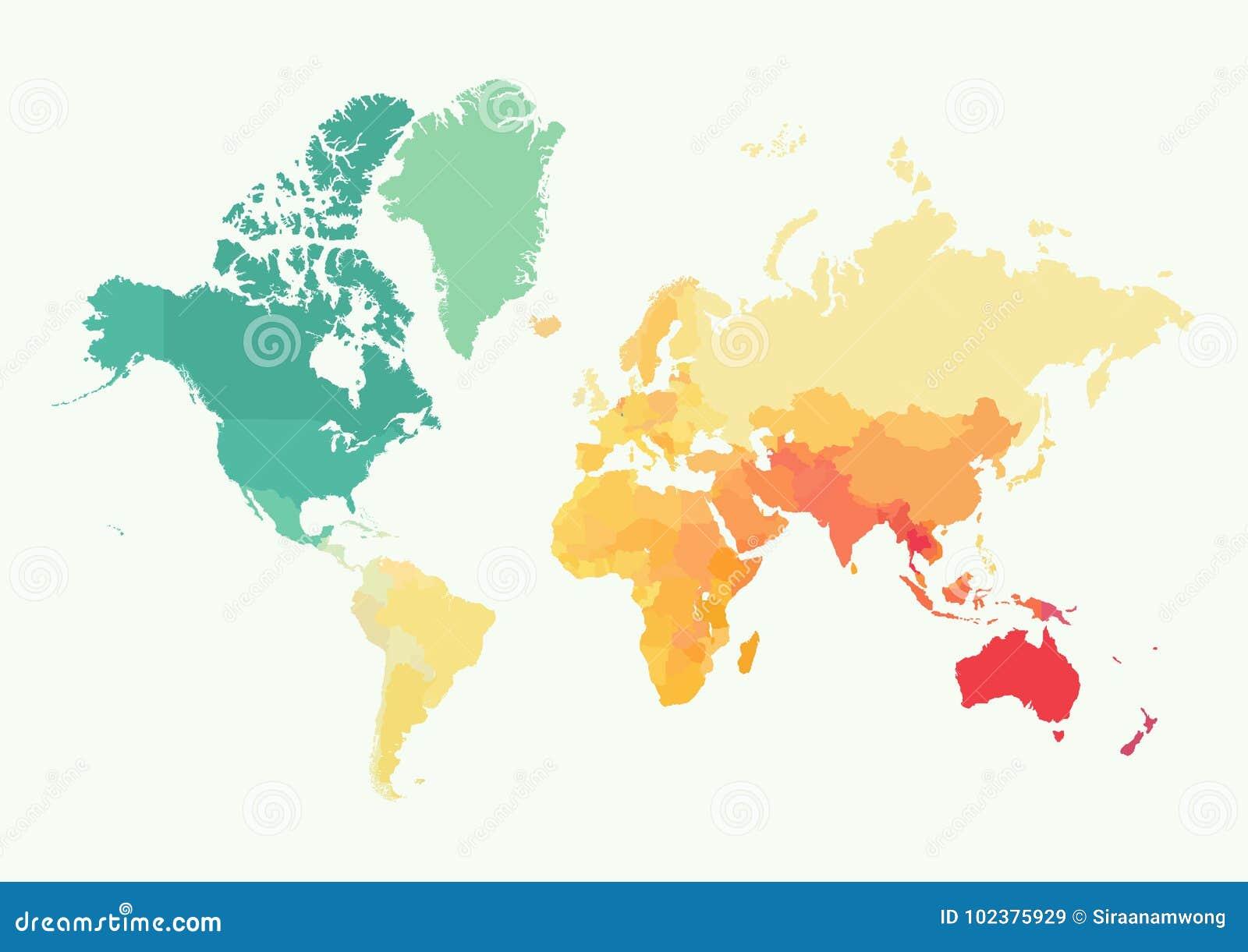 Alto mapa del mundo del detalle con color
