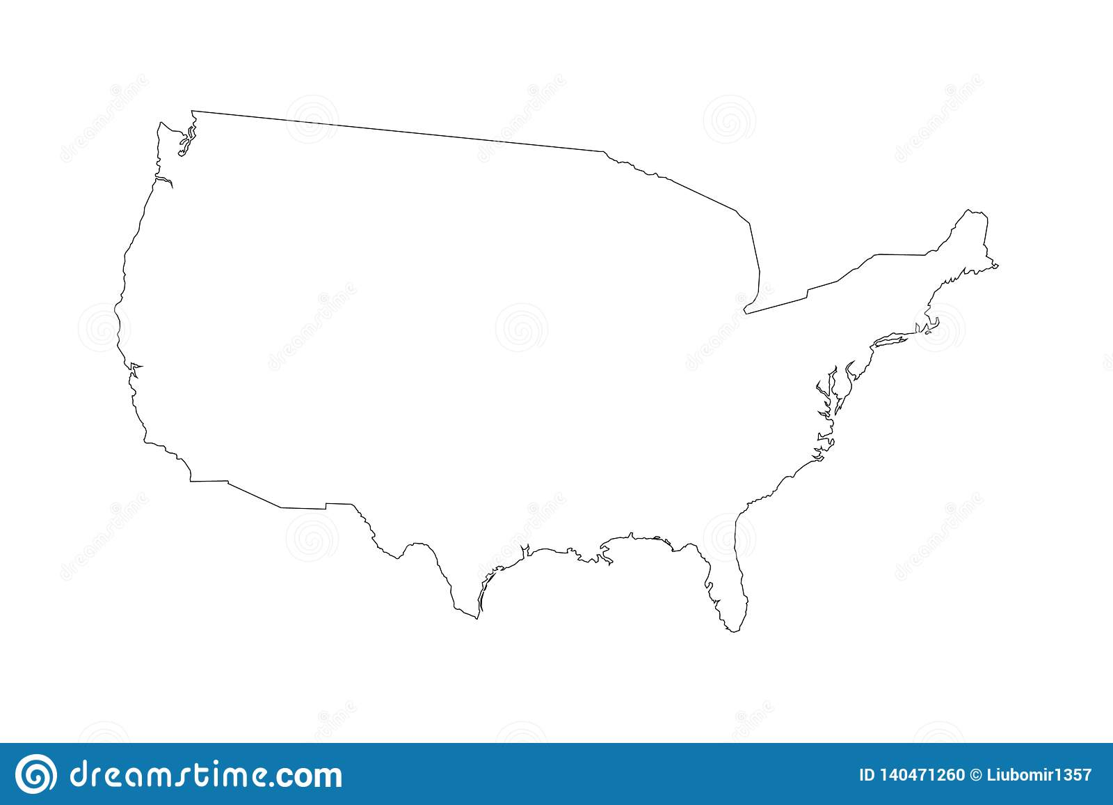 Alto mapa detallado del vector - Estados Unidos