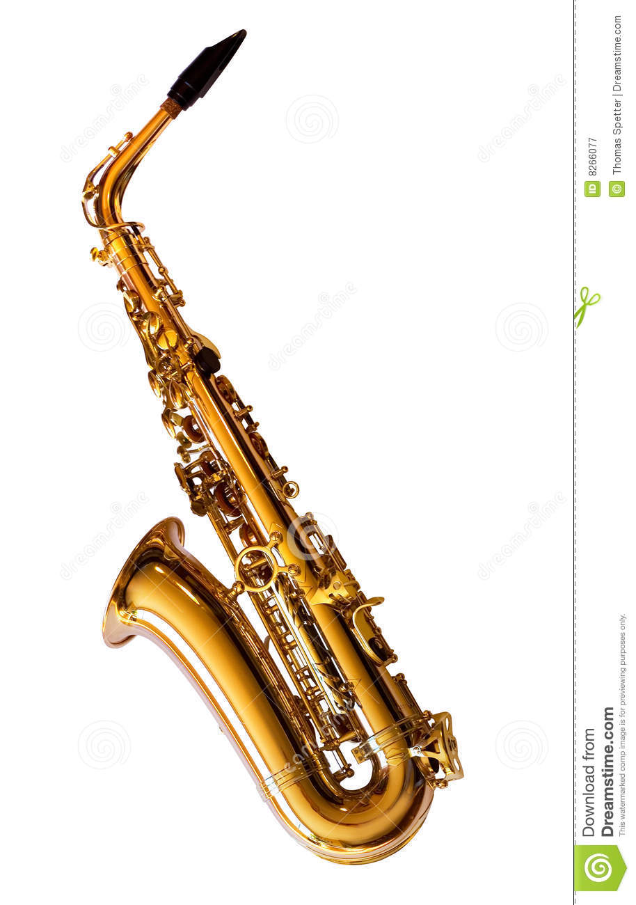 Left side view of an Alto Saxophone (Clipping Path is included).