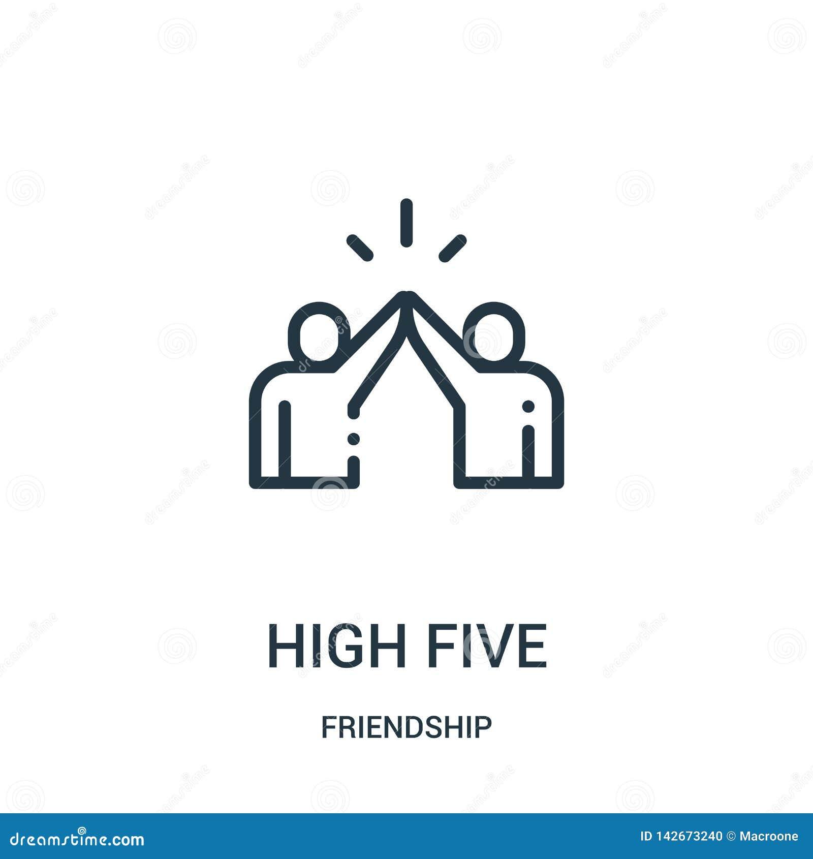 Alto vector de cinco iconos de la colección de la amistad Línea fina ejemplo del vector del icono del esquema del alto cinco Símb