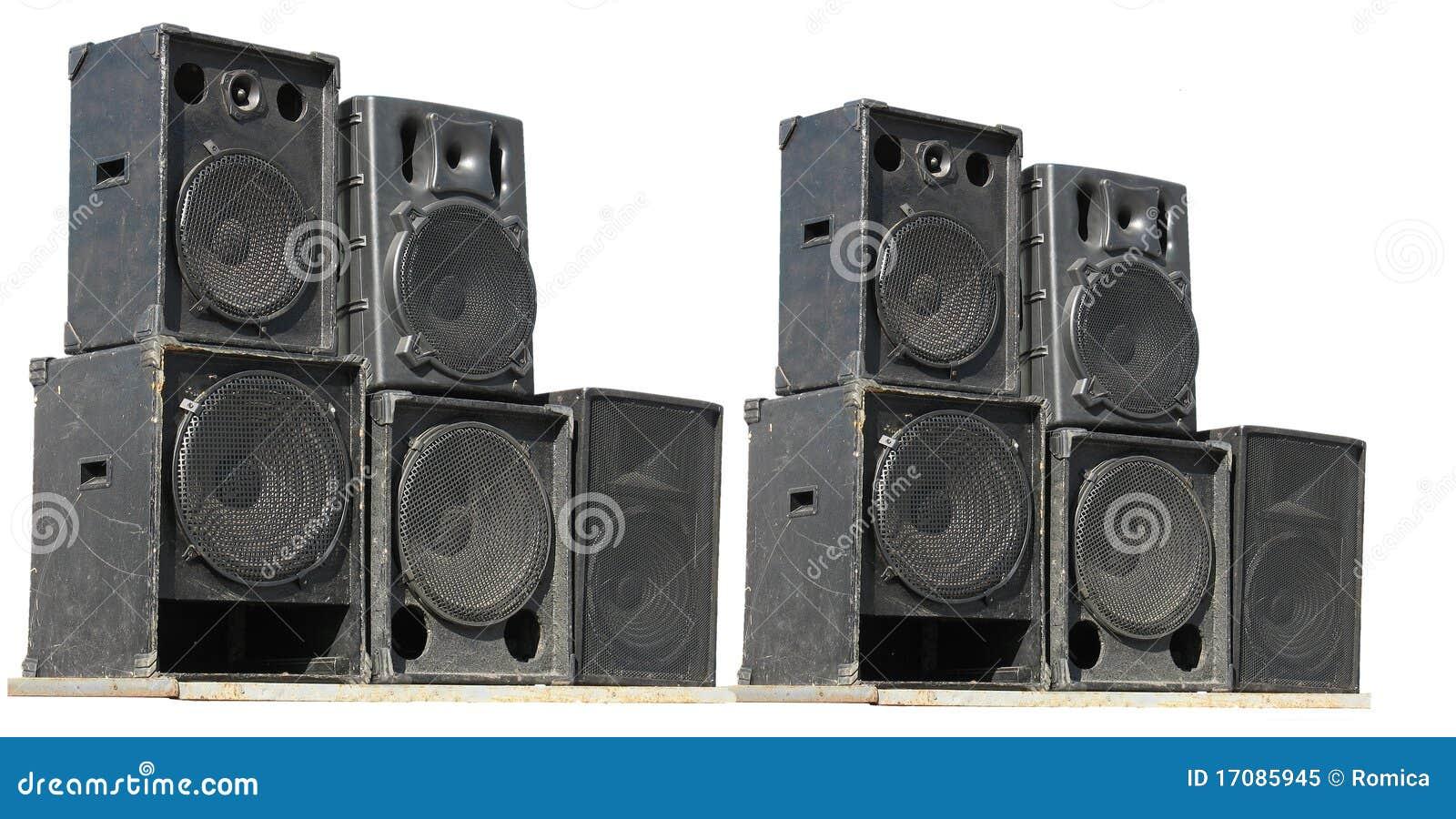 Altofalantes poderosos velhos do áudio do concerto do estágio