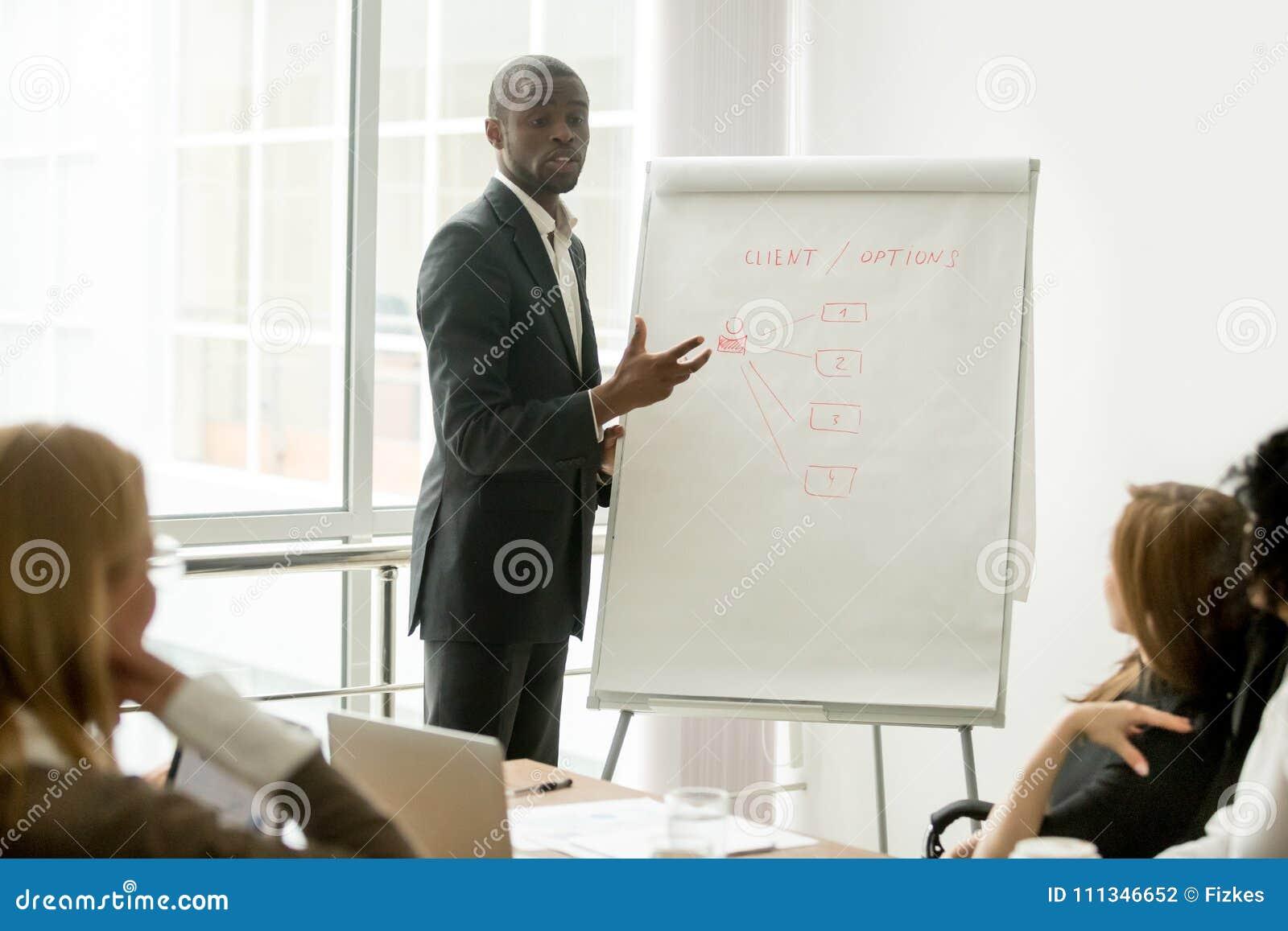Altoparlante africano sicuro che dà presentazione nel gr multi-etnico