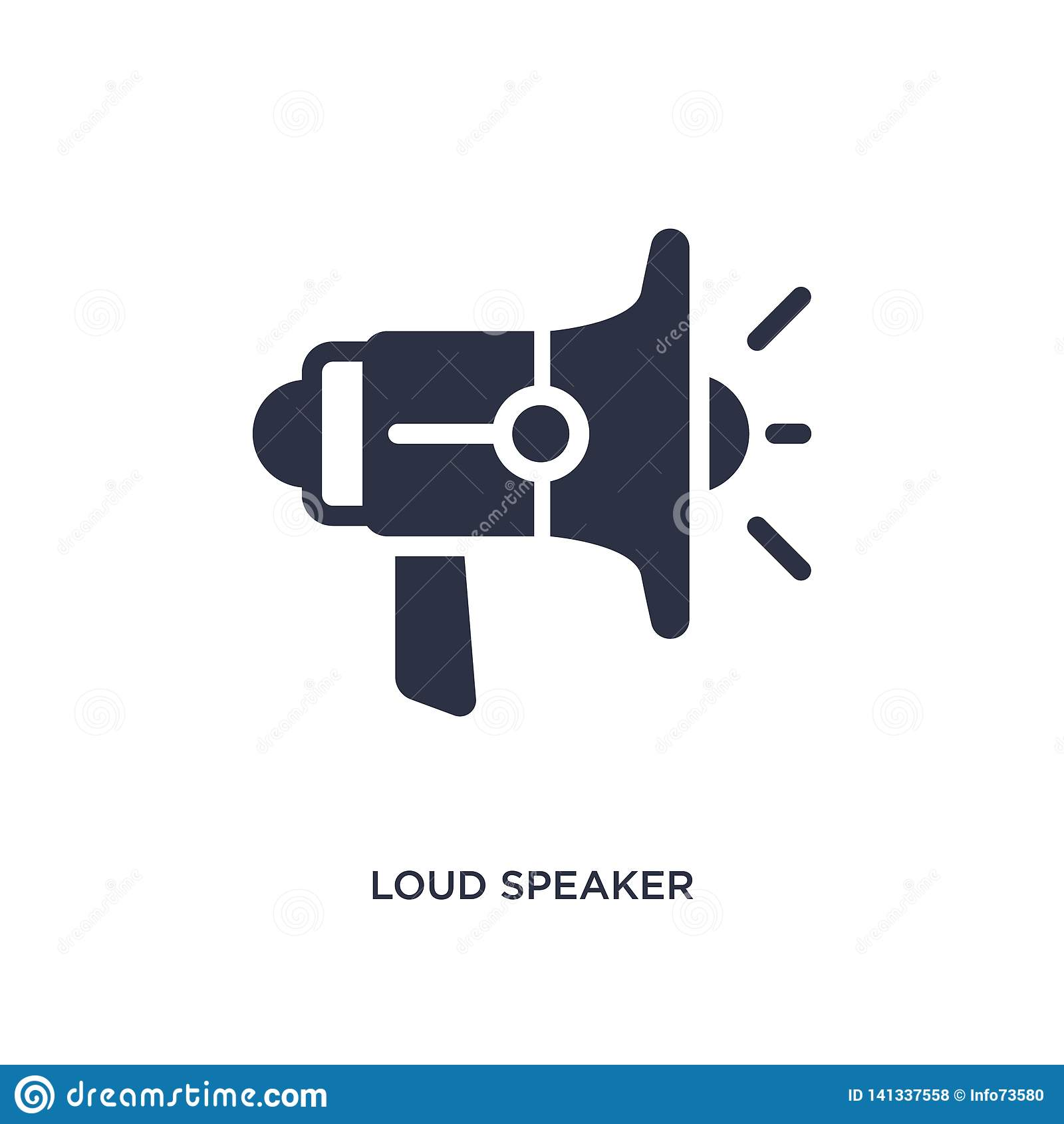 Altoparlante rumoroso che affronta giusta icona su fondo bianco Illustrazione semplice dell elemento dal concetto del cinema