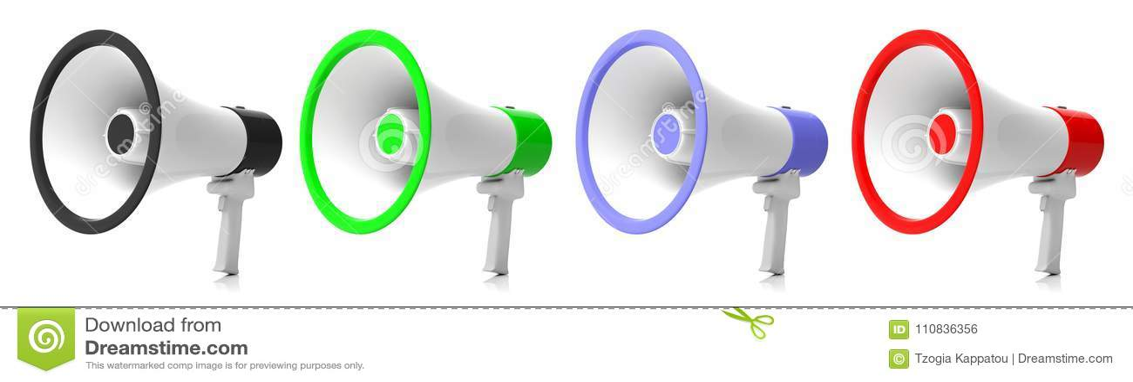 Altoparlanti, collage dei megafoni su fondo bianco illustrazione 3D