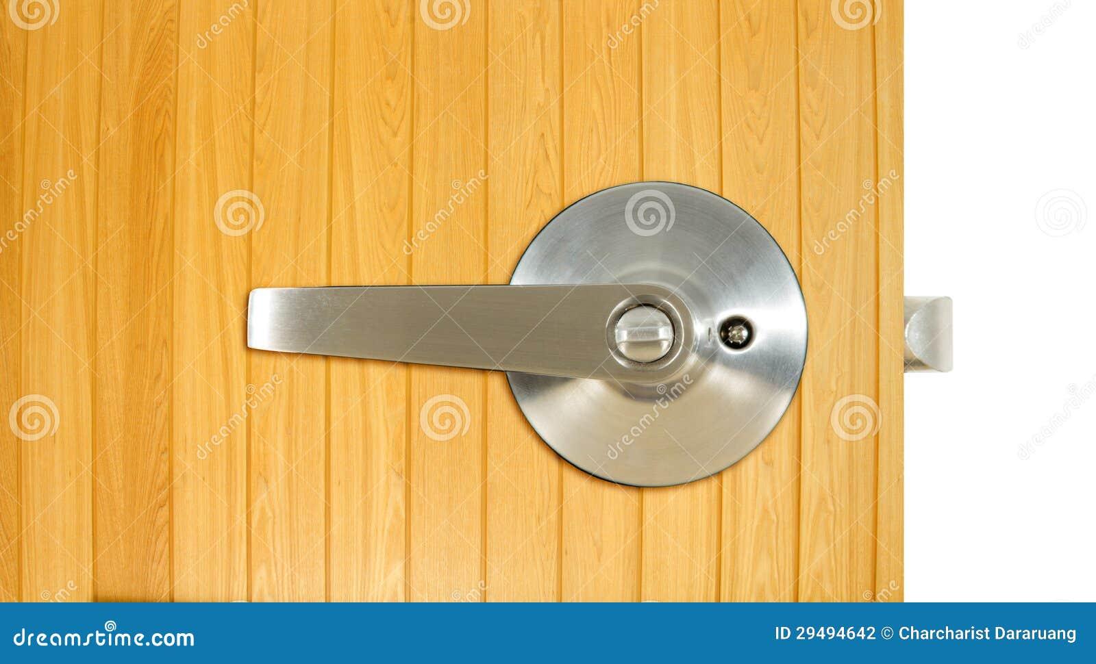 Aluminium door knob on the wood door, white background. door white  1300 x 805