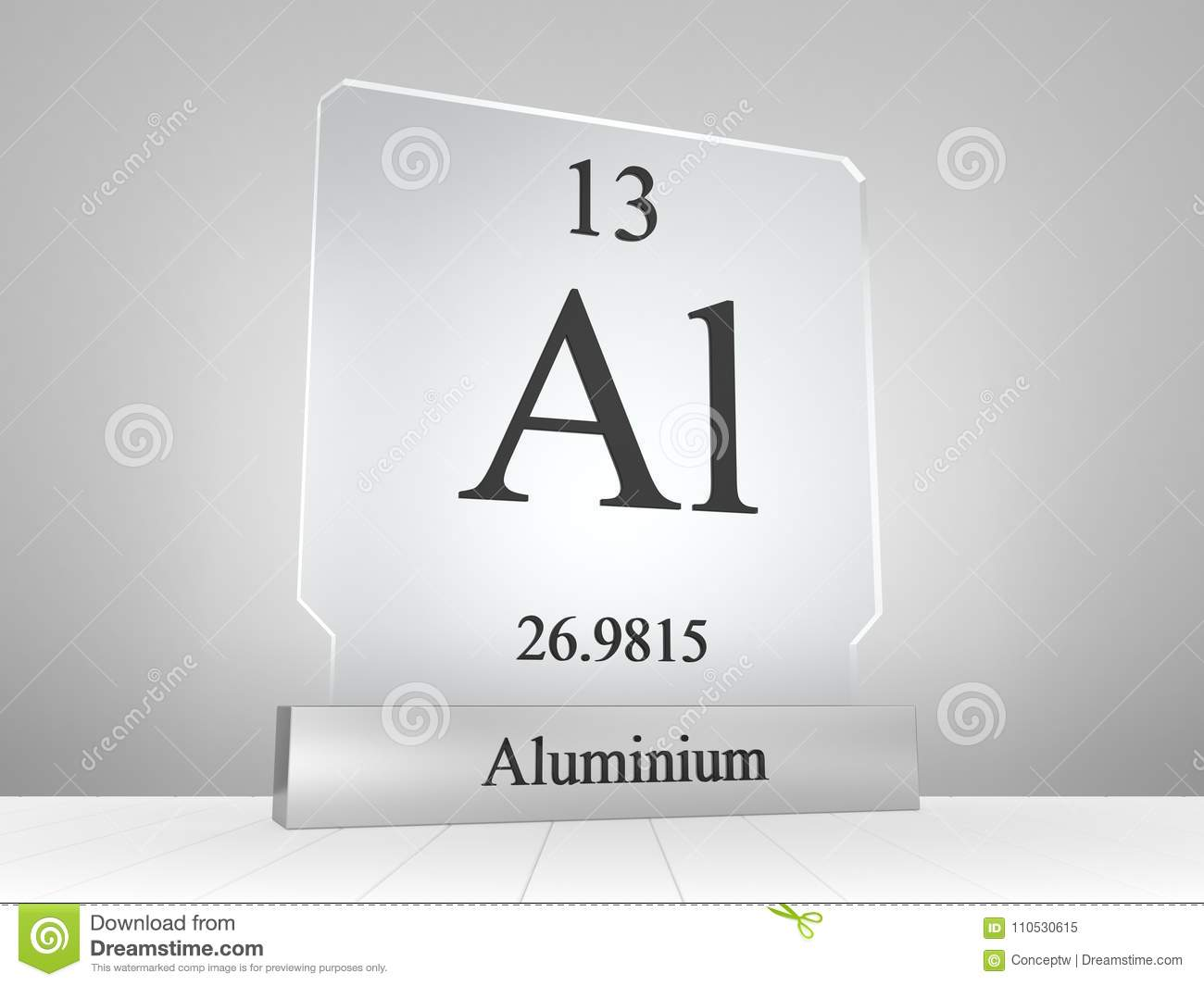 Aluminium Symbol On Modern Glass And Metal Icon Stock