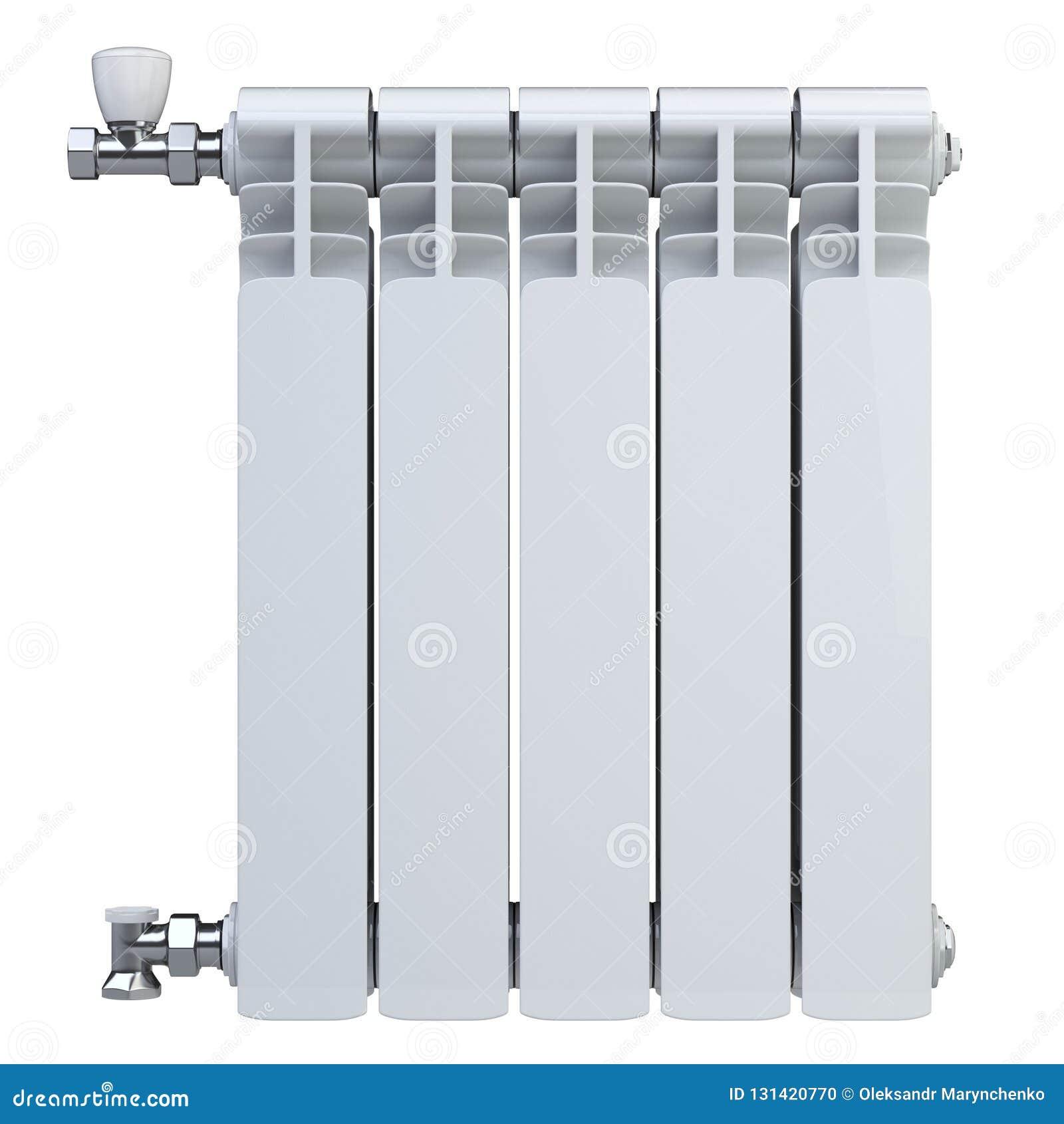 Aluminiumuppvärmningelement med ventiler för anslutning Bekläda beskådar bakgrund isolerad white