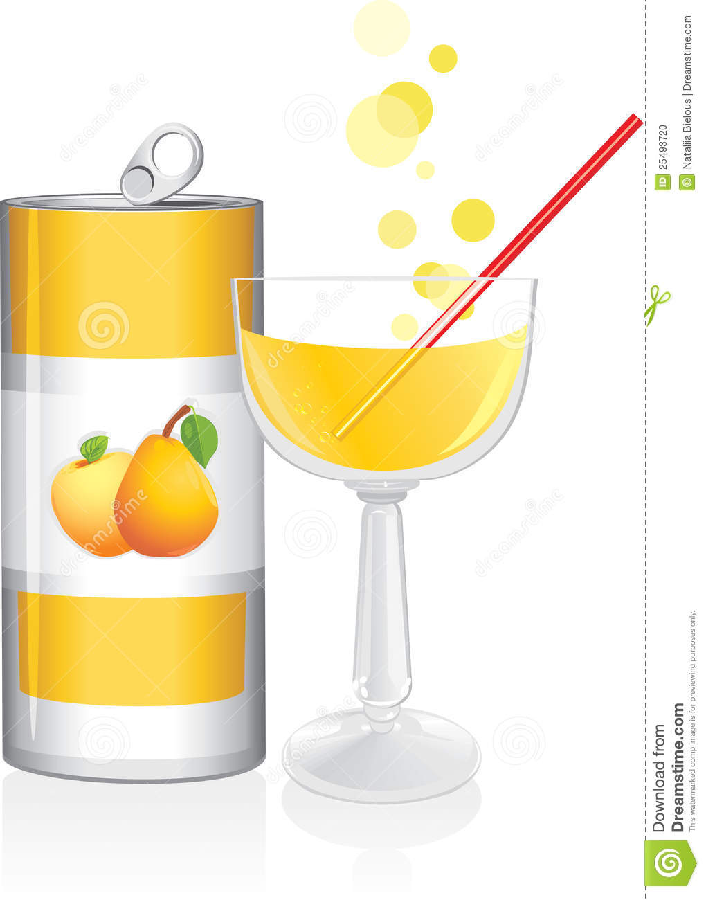 Aluminum Drink Can And Wine Glass With Fruit Juice Stock Photo - Image ...