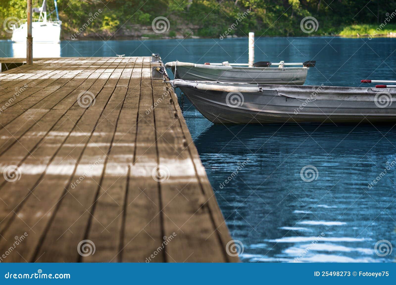 Aluminum fishing boats at wood dock stock image image for Fishing docks near me