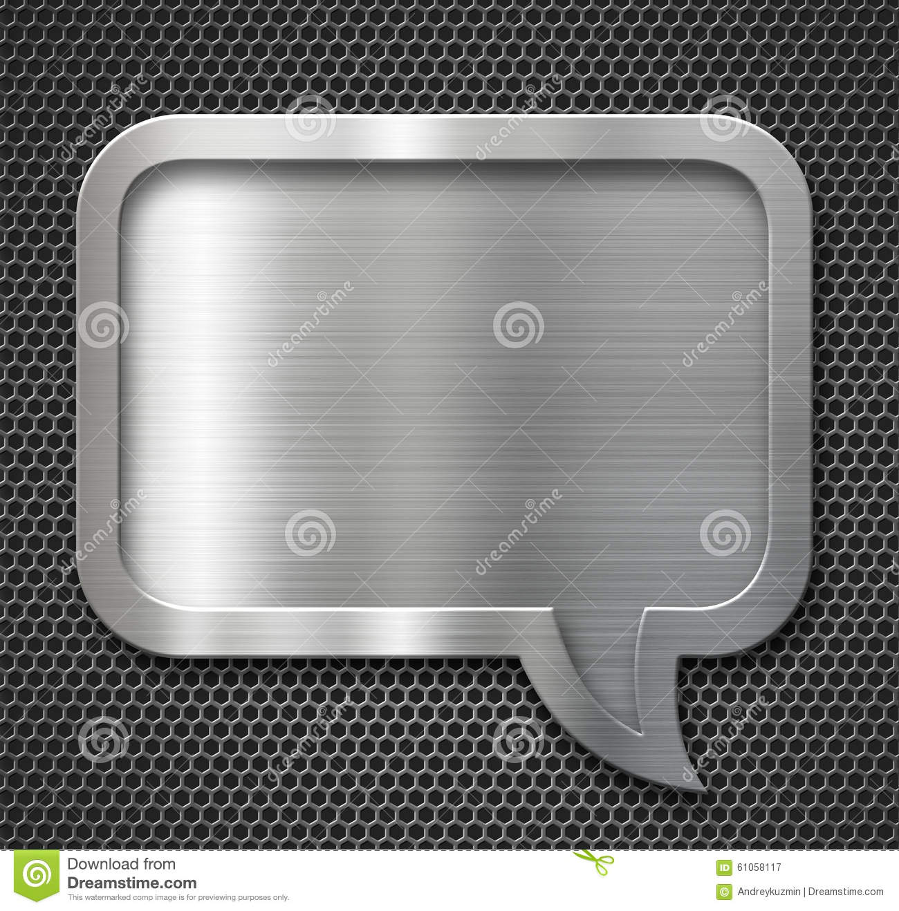 Aluminum Metal Speech Bubble Frame Over Grid Stock Image Image Of