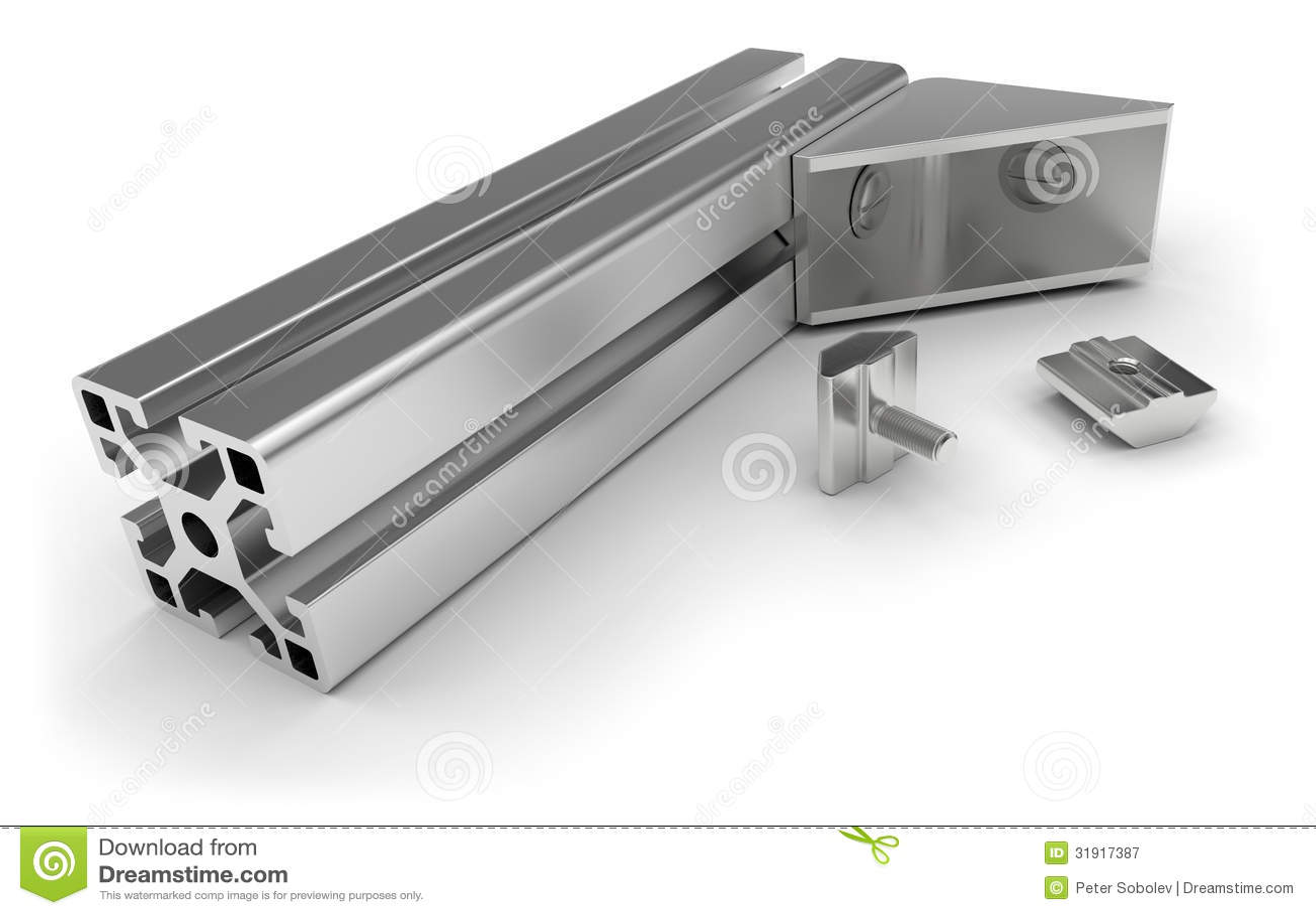 aluminum profile accessories stock illustration illustration of industry parts 31917387. Black Bedroom Furniture Sets. Home Design Ideas