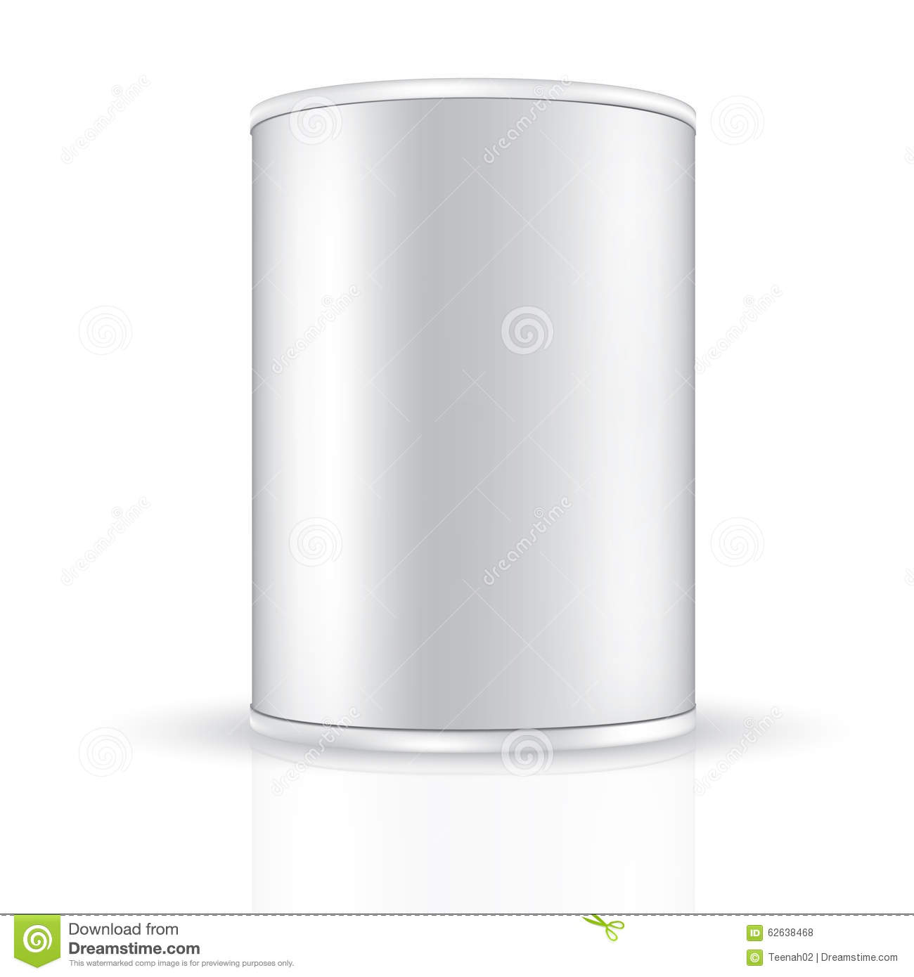 Aluminum tin round container with white band on top and bottom