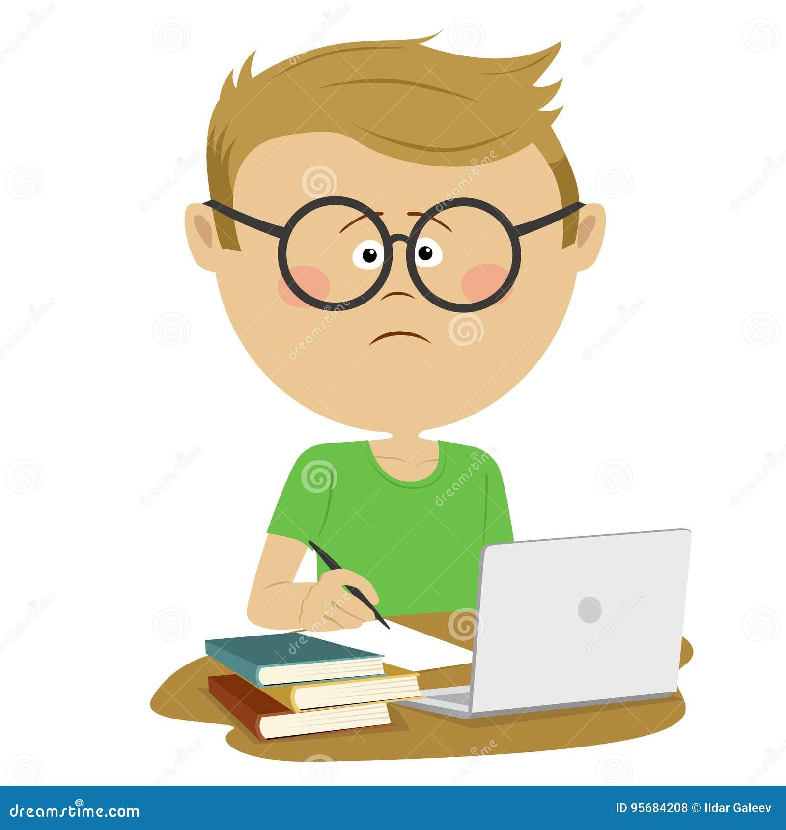Alumno infeliz del muchacho del empollón con los vidrios que se sientan en el escritorio con la pila de libros y de loptop
