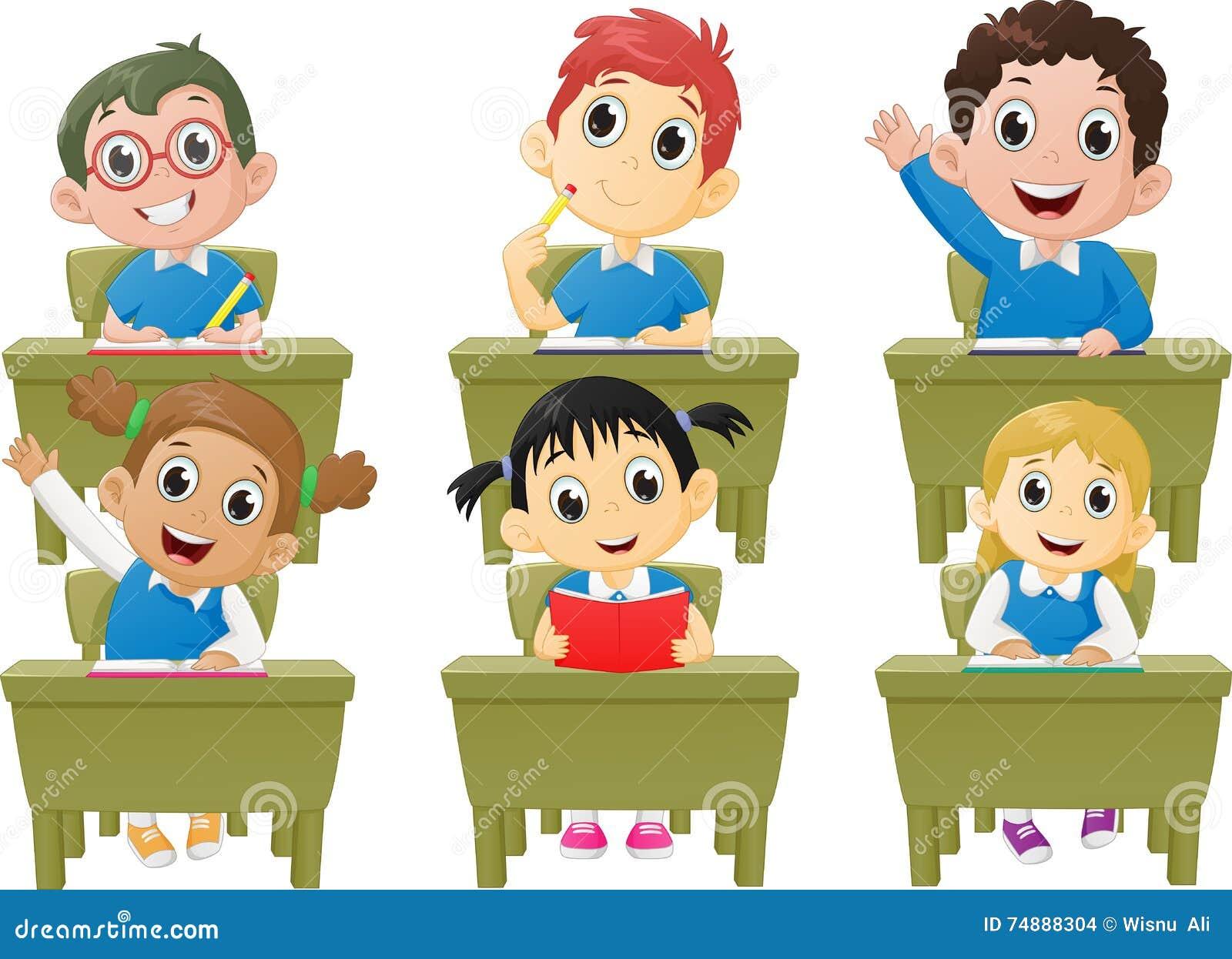 Alunos das atividades da lição na sala de aula