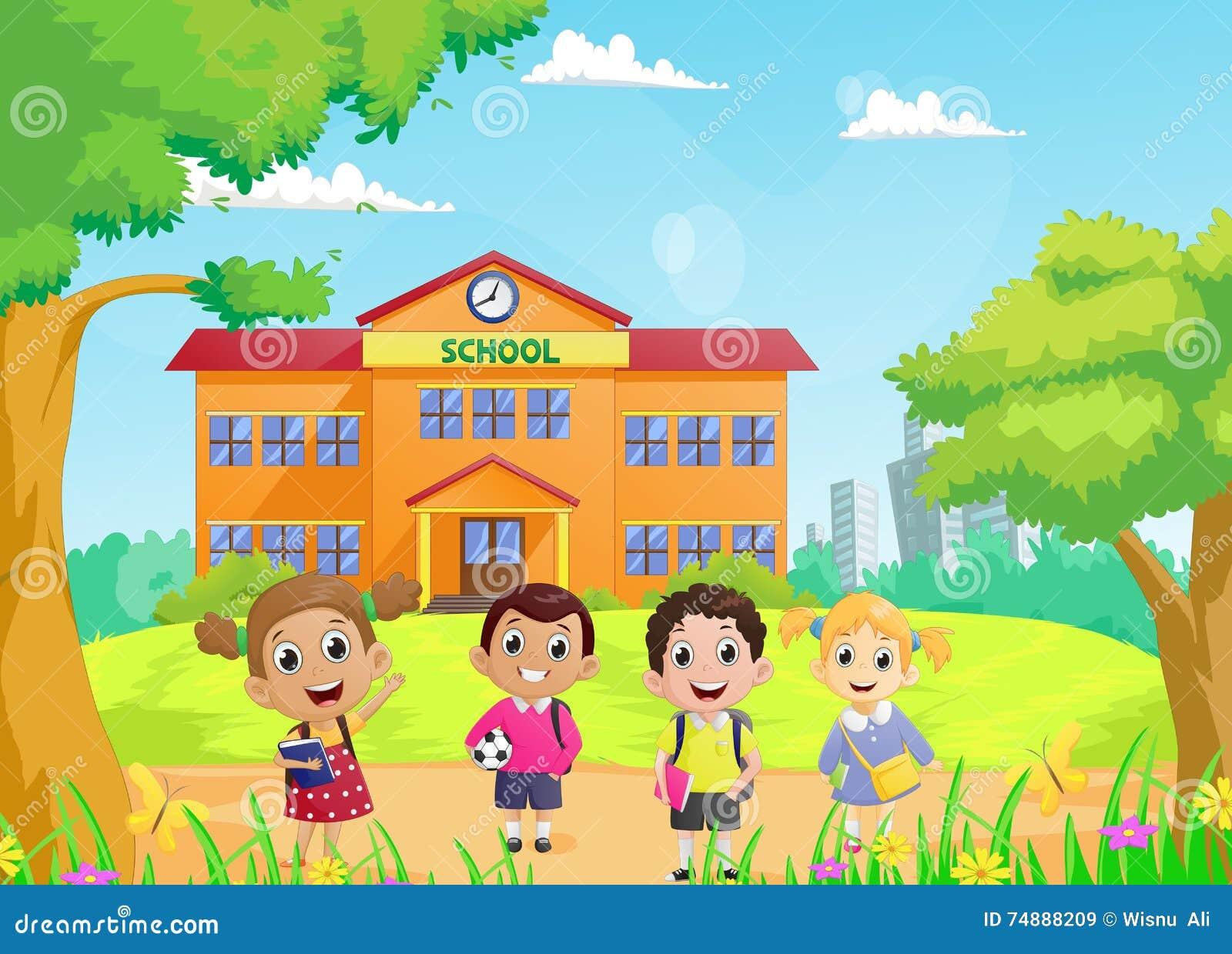 Alunos felizes na frente do prédio da escola