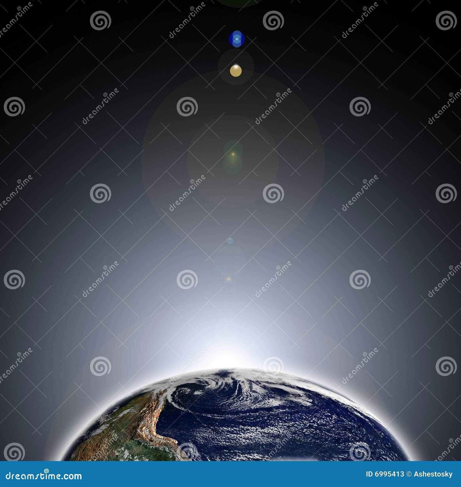 Alvorecer na terra do espaço