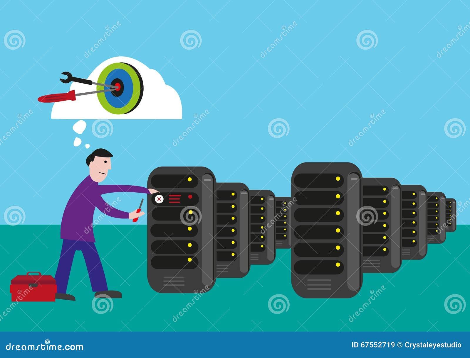 Alvos do técnico da TI para fixar e resolver o problema na sala do servidor Clipart editável