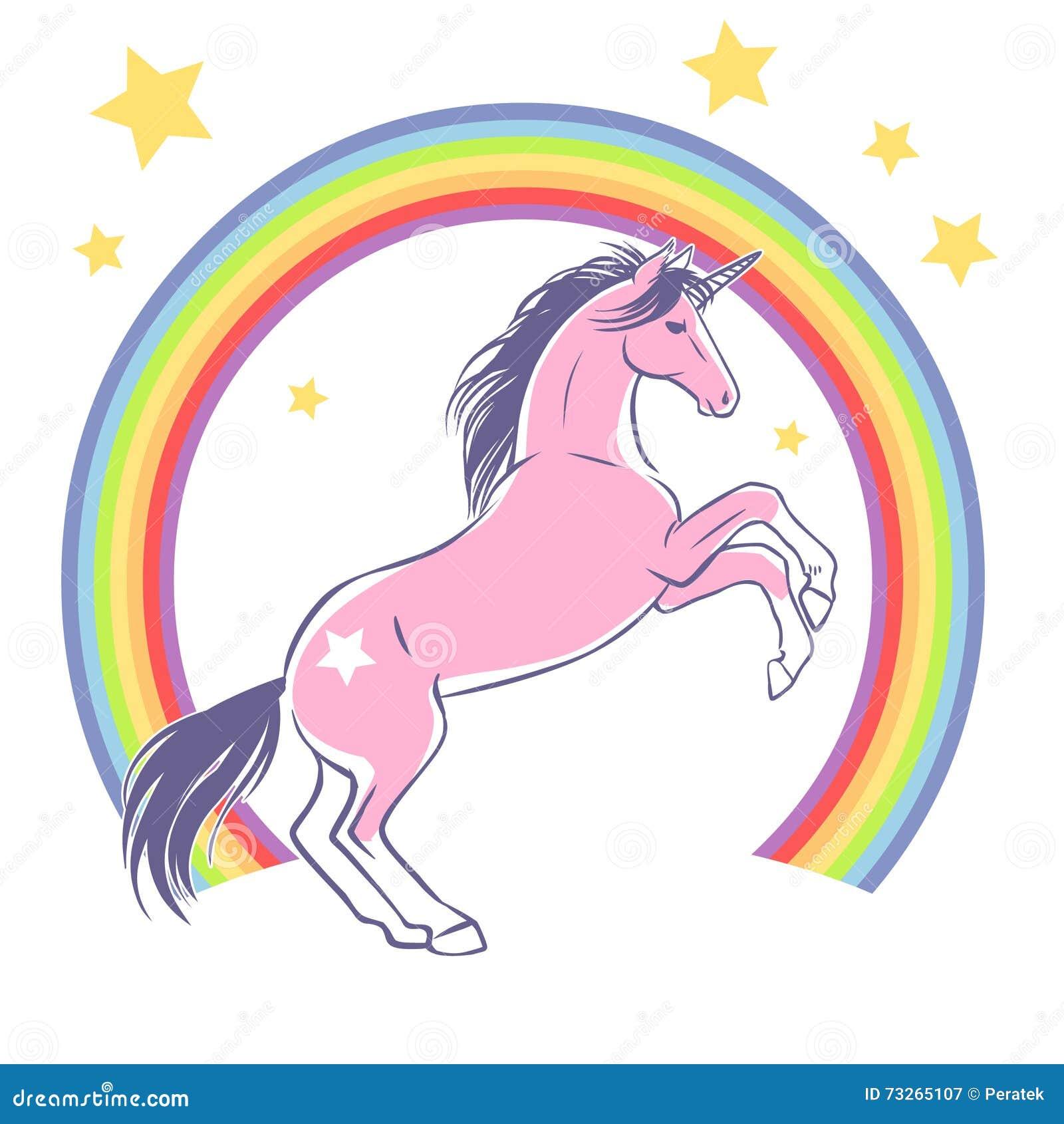 Diseño Del Rainbow Warrior Iii: Alzar Unicornio Y El Arco Iris Ilustración Drenada Mano