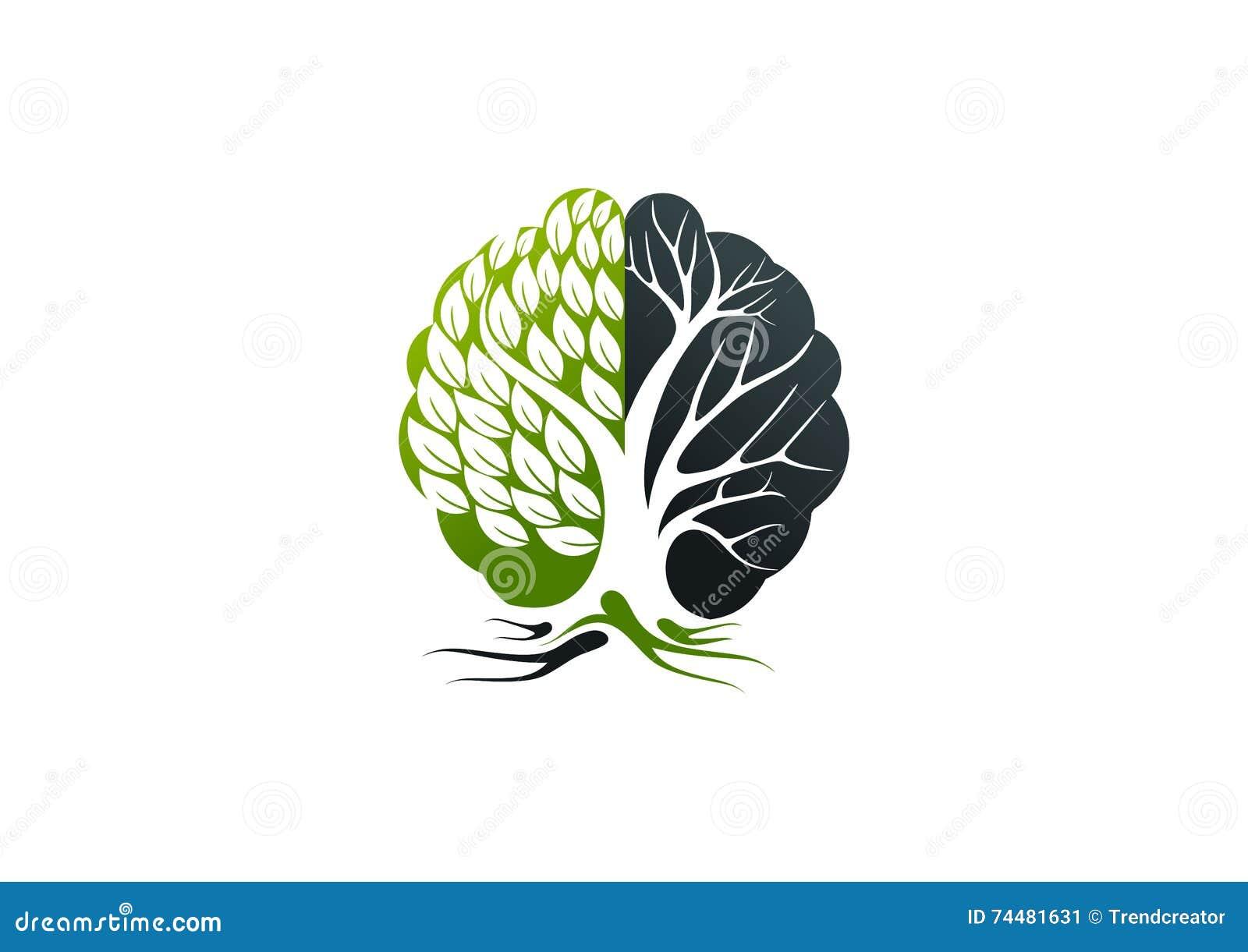 Alzheimer logo, drzewny móżdżkowy pojęcie projekt