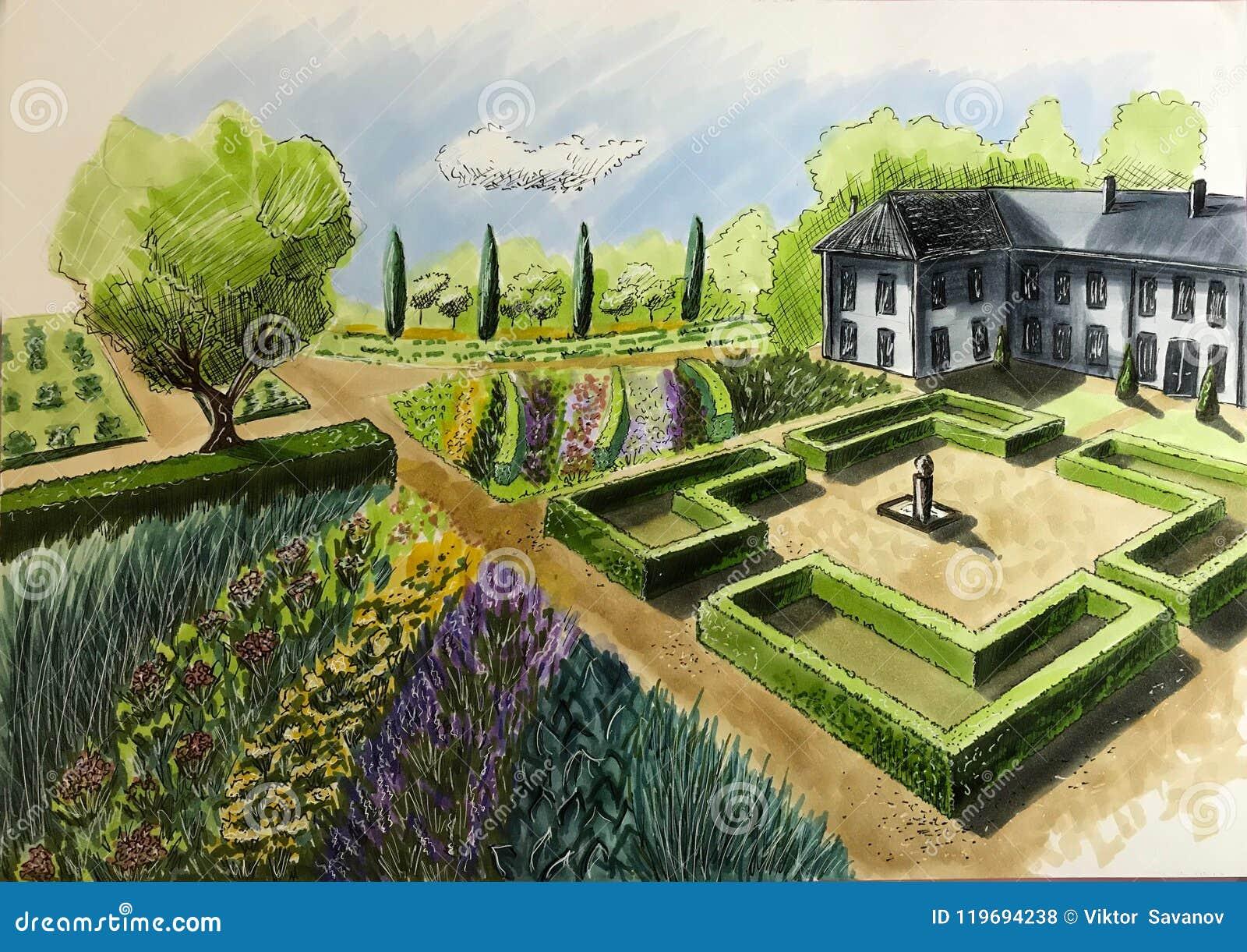 Aménagement Cottage De Jardin De Maison De Dessin La Vue à Partir Du ...