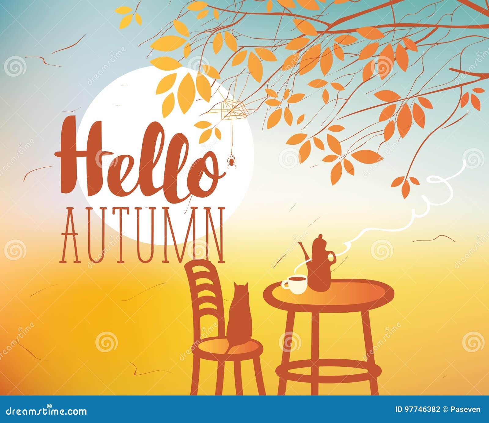 Aménagez en parc sur le thème d automne avec le chat et les meubles